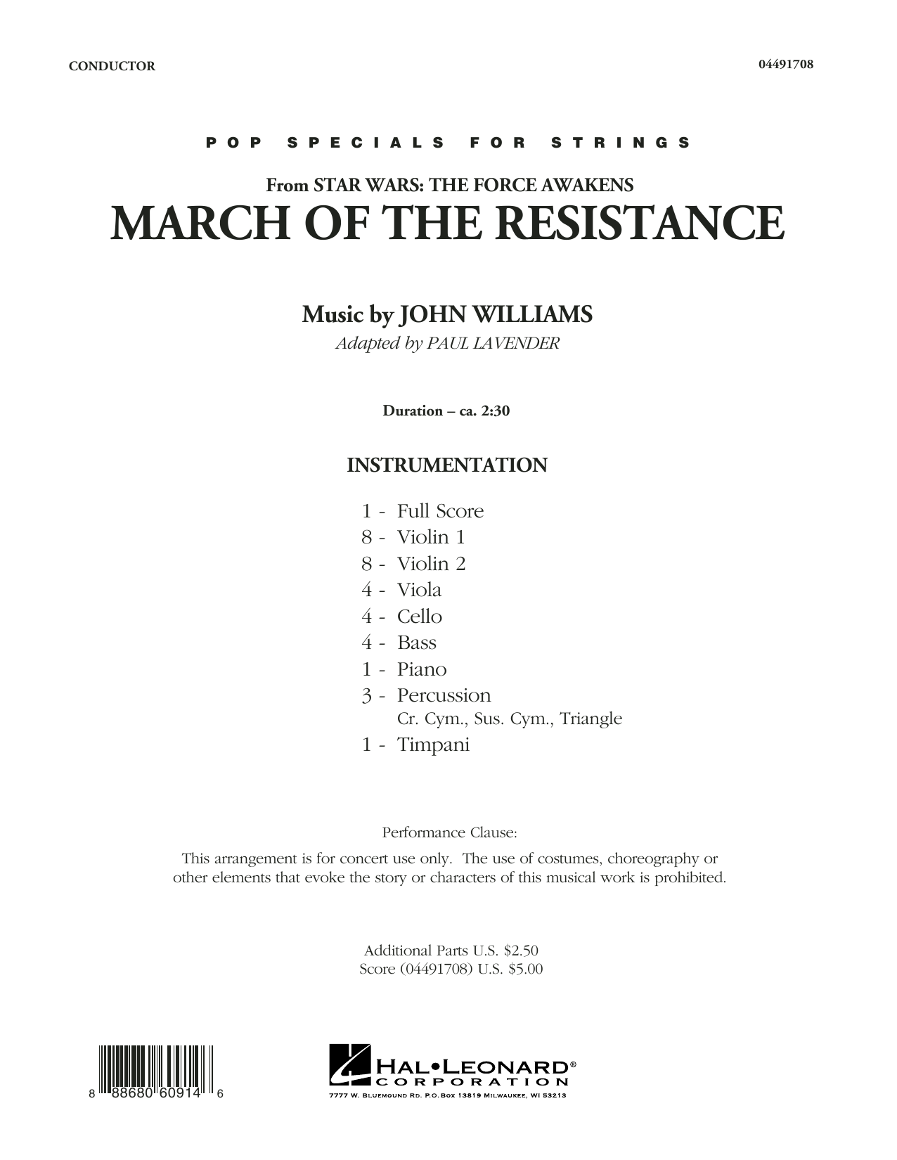 March of the Resistance (from Star Wars: The Force Awakens) (COMPLETE) sheet music for orchestra by John Williams and Paul Lavender. Score Image Preview.