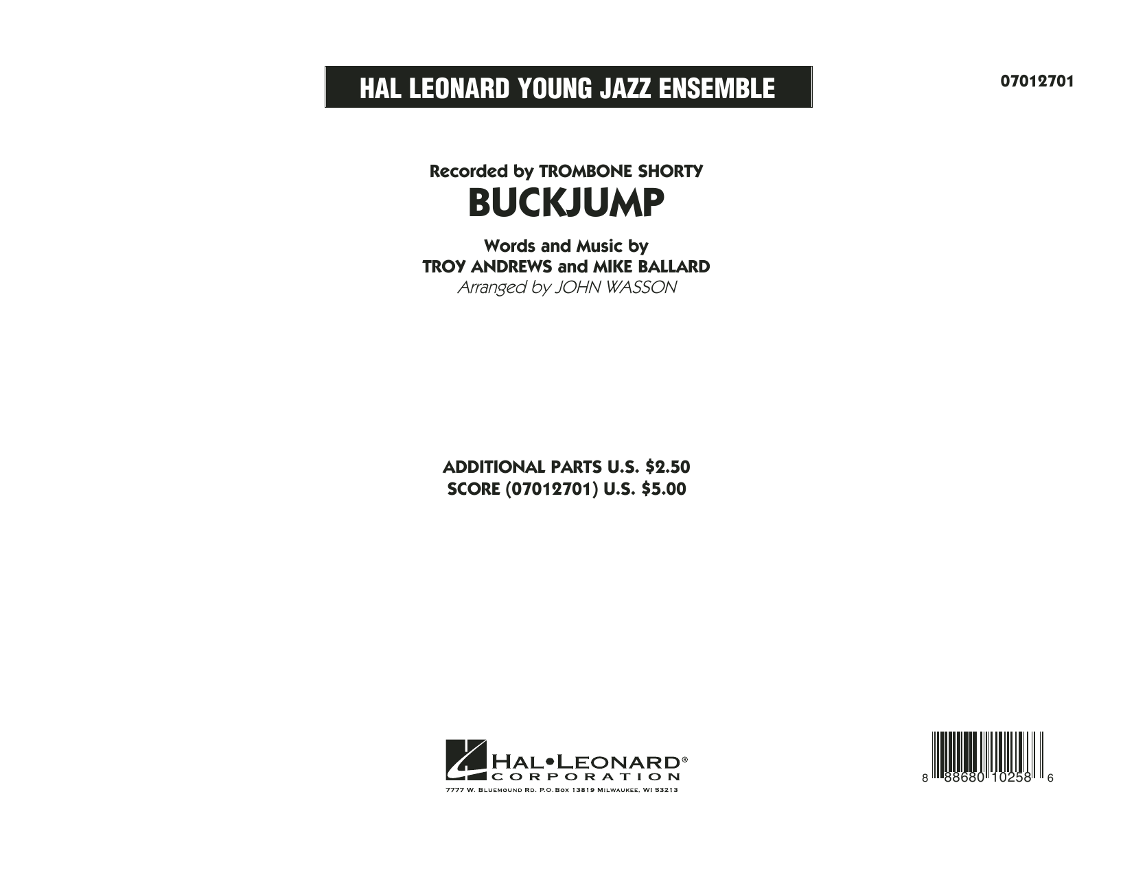 Buckjump (COMPLETE) sheet music for jazz band by Troy Andrews and John Wasson. Score Image Preview.