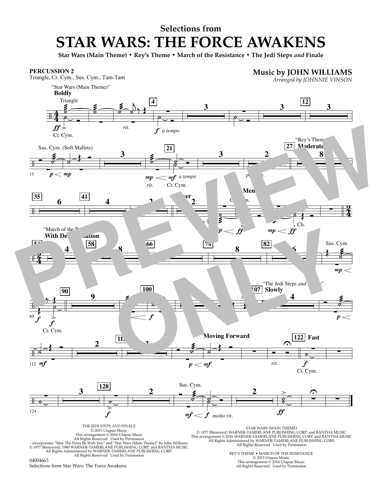 Selections from Star Wars: The Force Awakens - Percussion 2 (Concert Band: Flex-Band)
