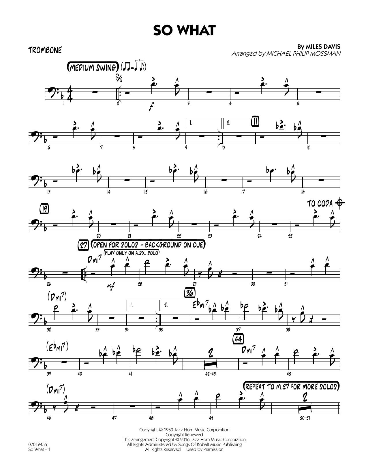 So What - Trombone (Jazz Ensemble)