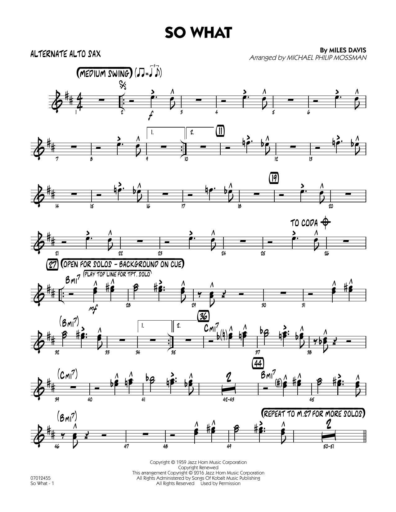 So What - Alternate Alto Sax (Jazz Ensemble)