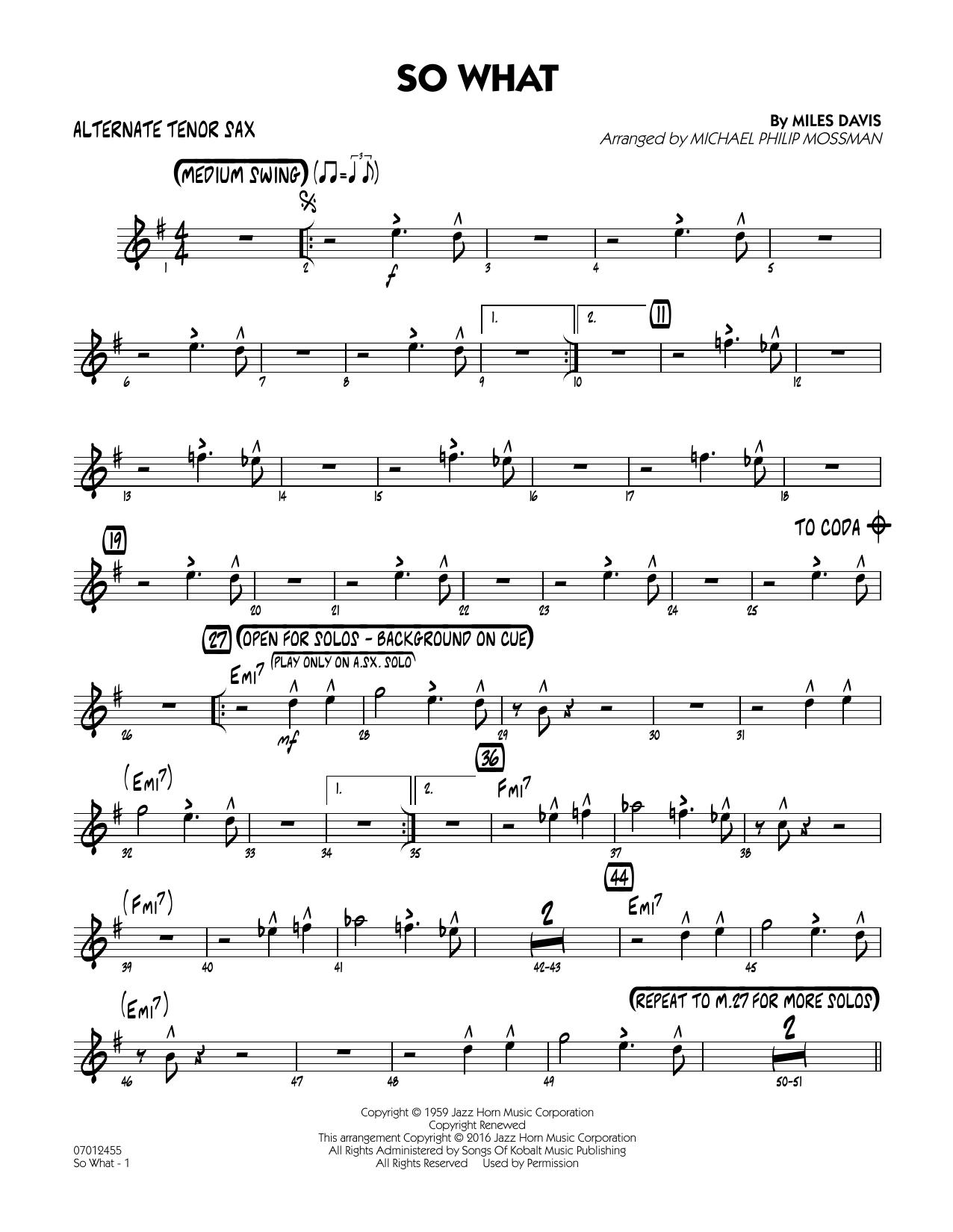 So What - Alternate Tenor Sax (Jazz Ensemble)
