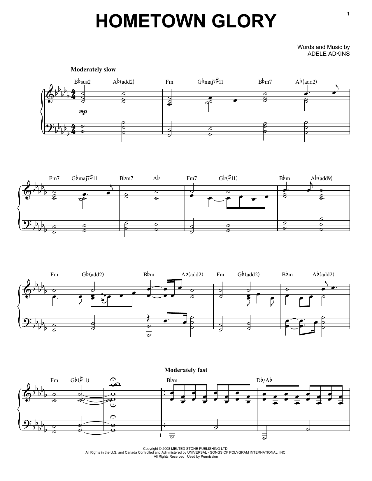 Hometown Glory Sheet Music