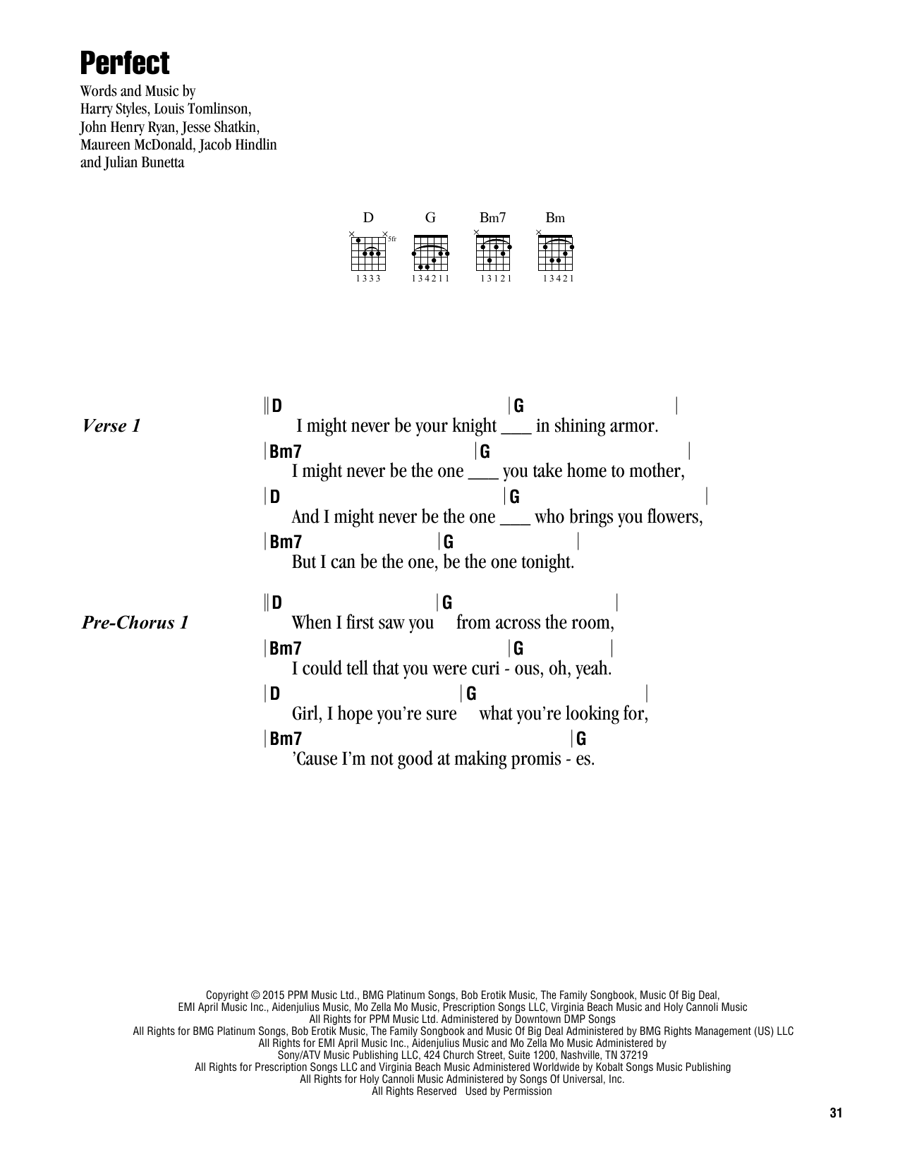 Perfect sheet music by One Direction (Lyrics u0026 Chords u2013 164617)