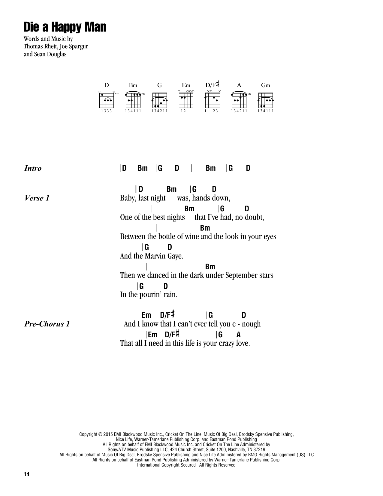 Die A Happy Man Sheet Music
