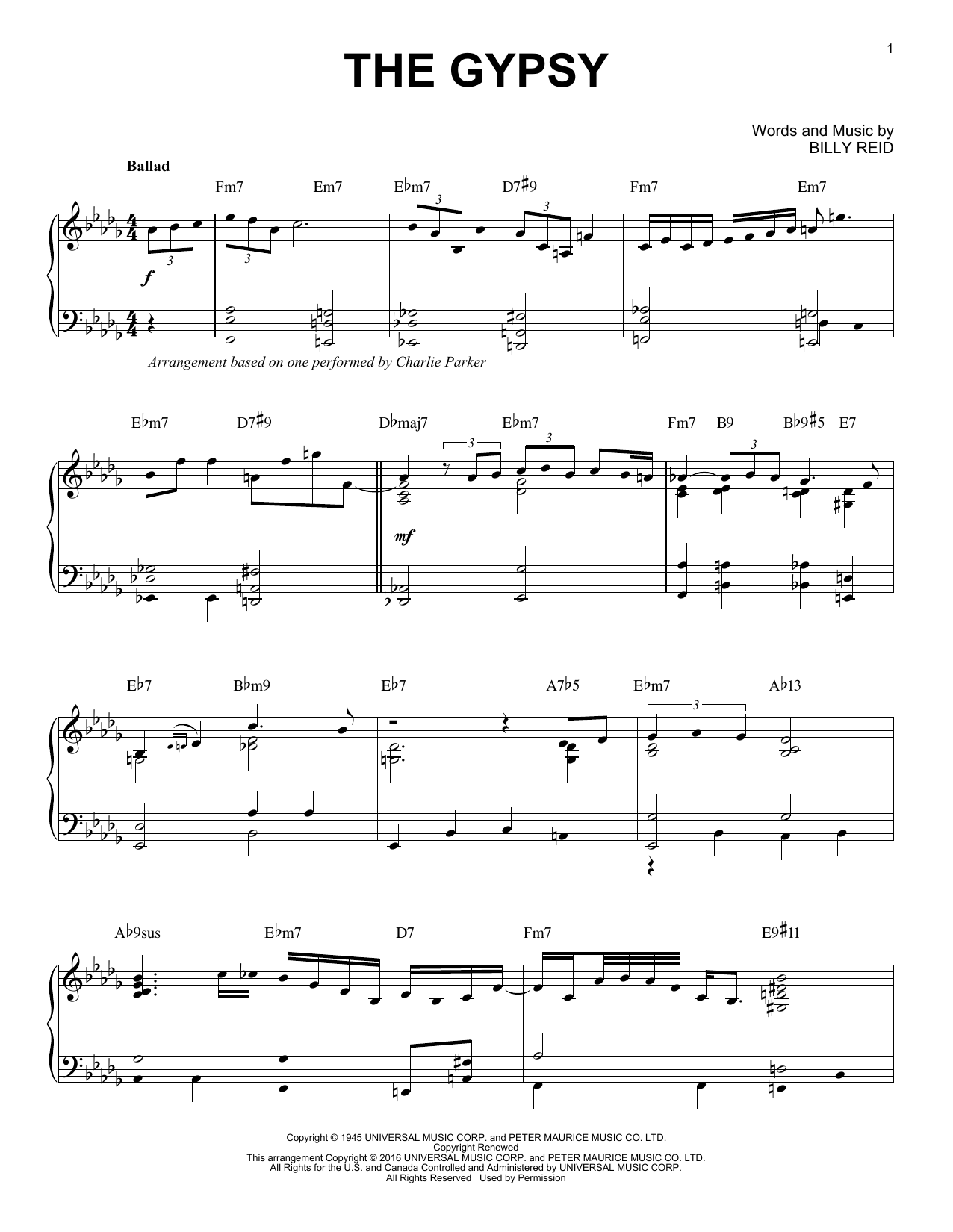 The Gypsy (arr. Brent Edstrom) (Piano Solo)