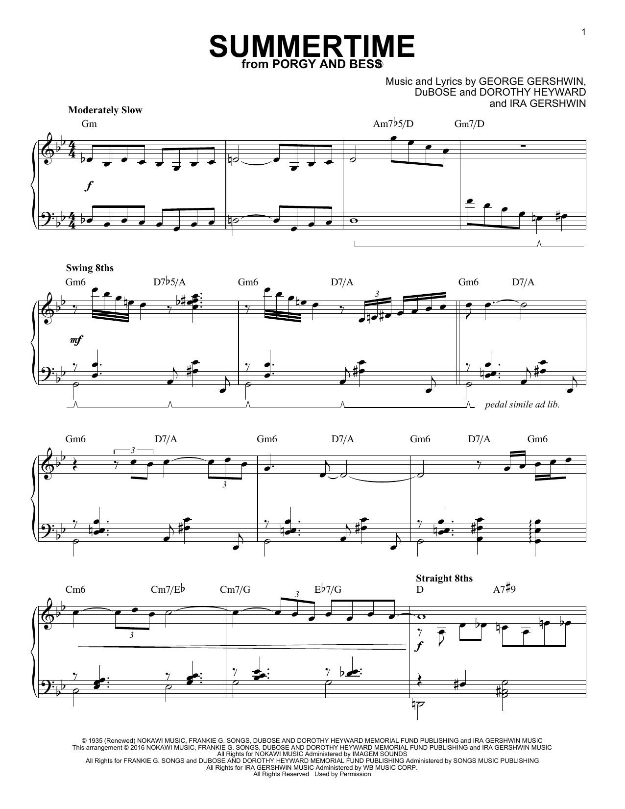 Partition piano Summertime de Charlie Parker - Piano Solo