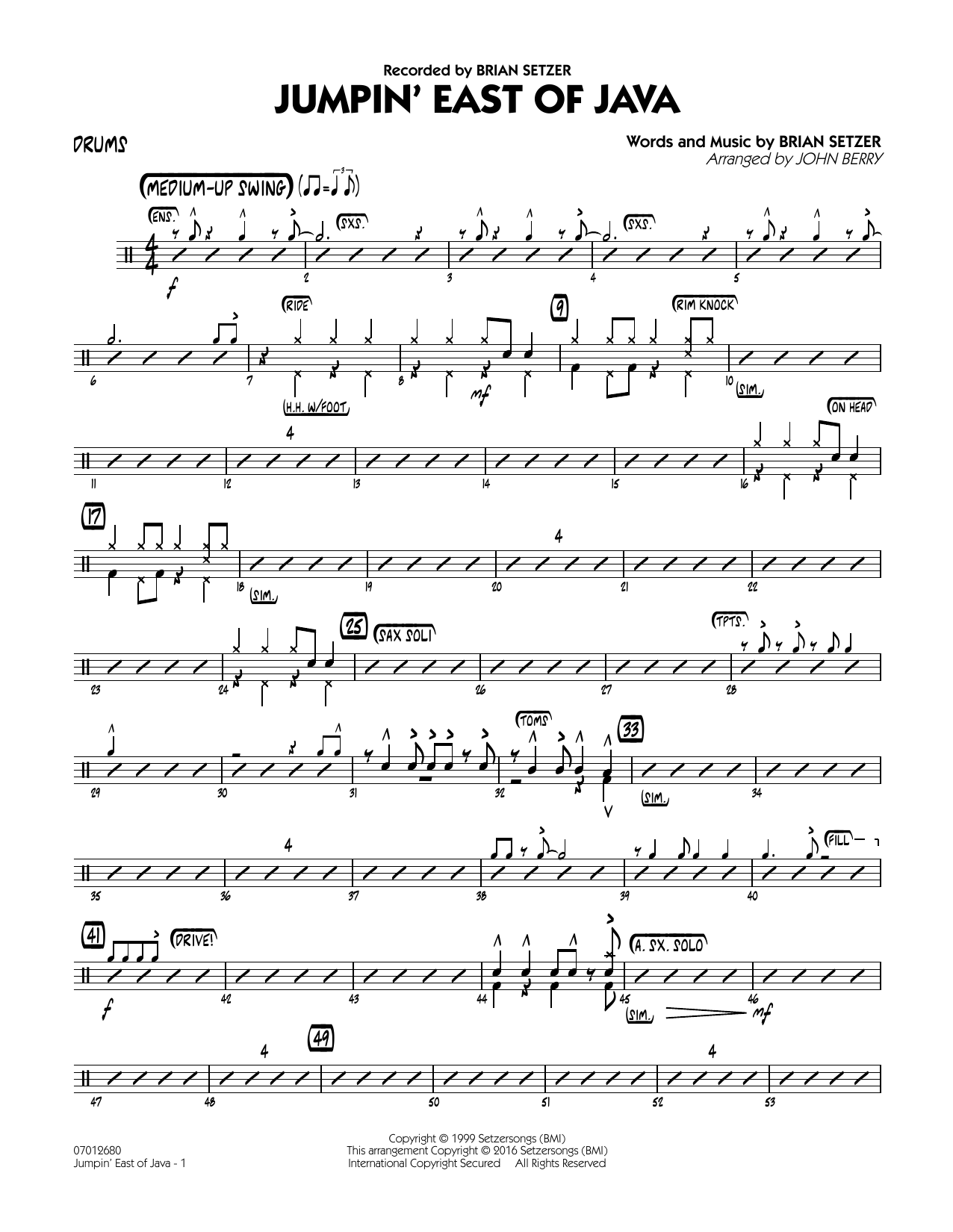 Jumpin' East of Java - Drums (Jazz Ensemble)