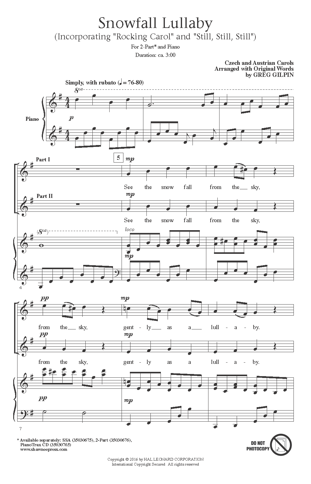 Snowfall Lullaby Sheet Music