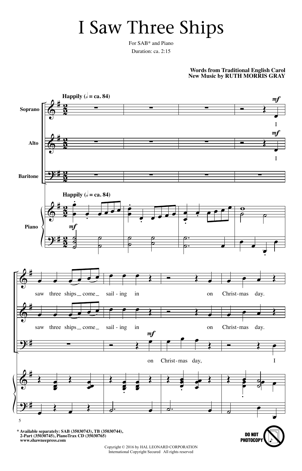 I Saw Three Ships Sheet Music