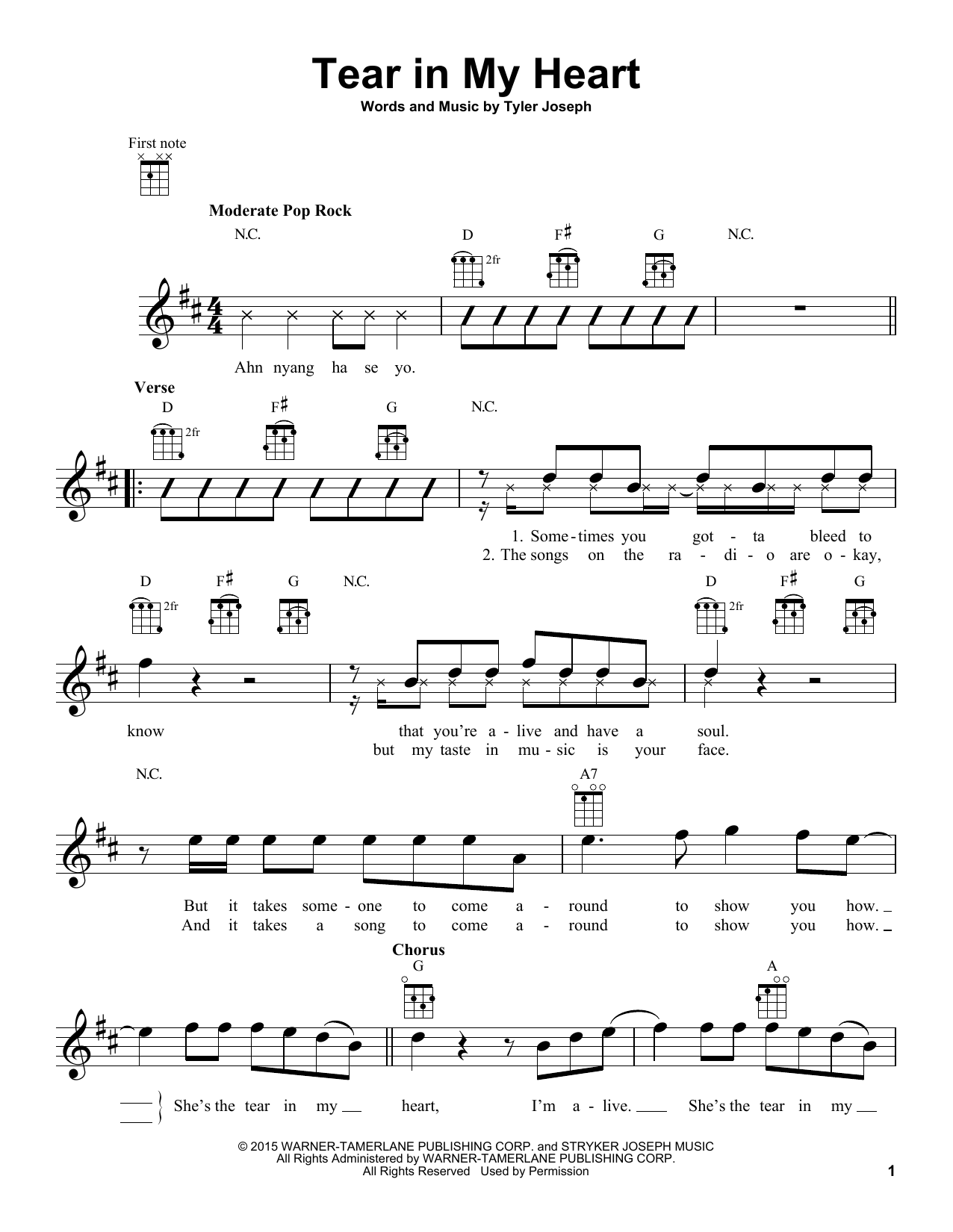 tear in my heart sheet music by twenty one pilots ukulele 164684. Black Bedroom Furniture Sets. Home Design Ideas