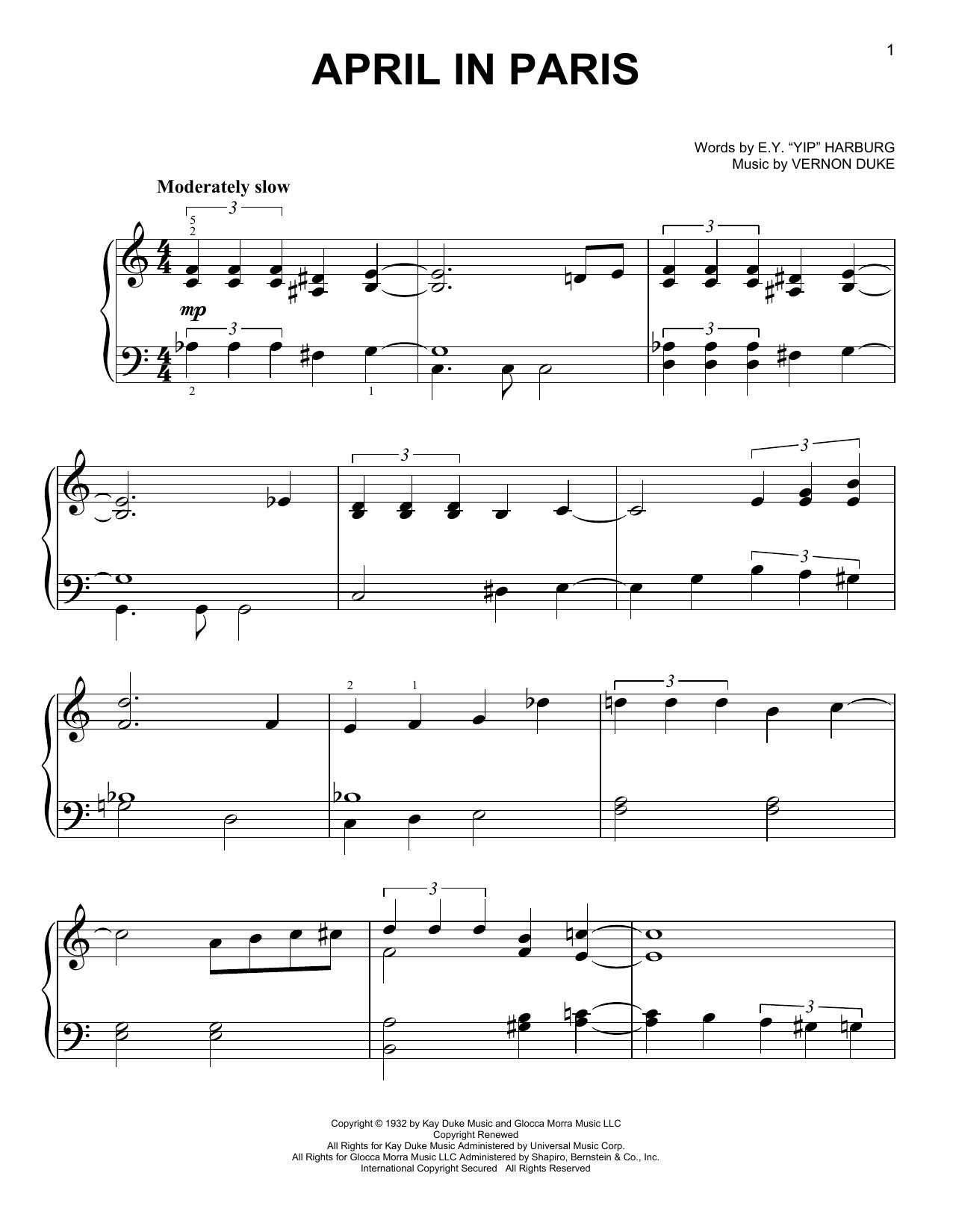 """Partition piano April In Paris de E.Y. """"Yip"""" Harburg - Piano Facile"""