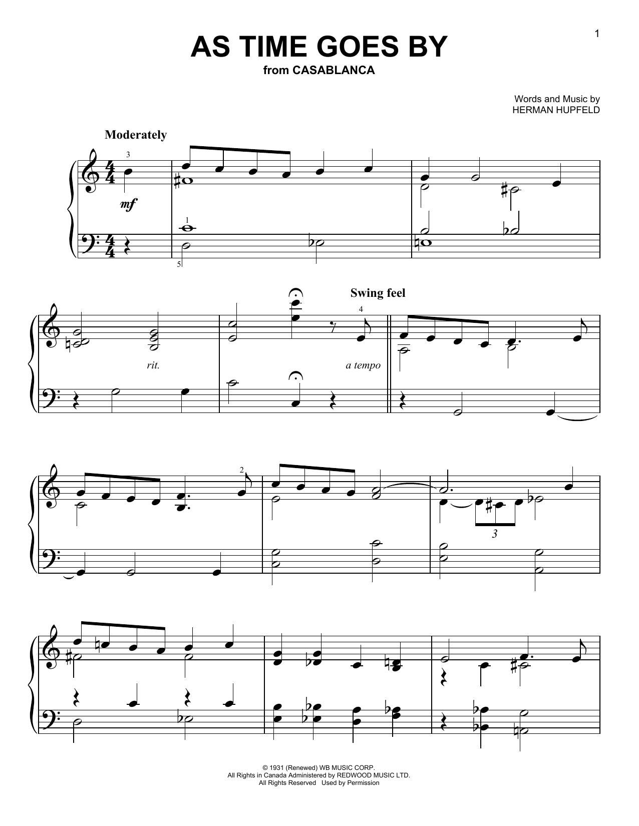 As Time Goes By Sheet Music