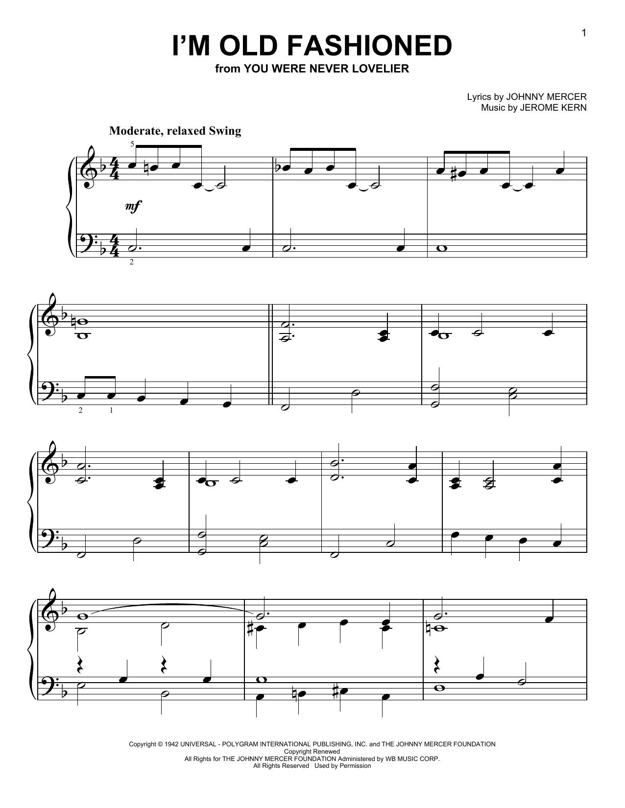 I'm Old Fashioned (Easy Piano)