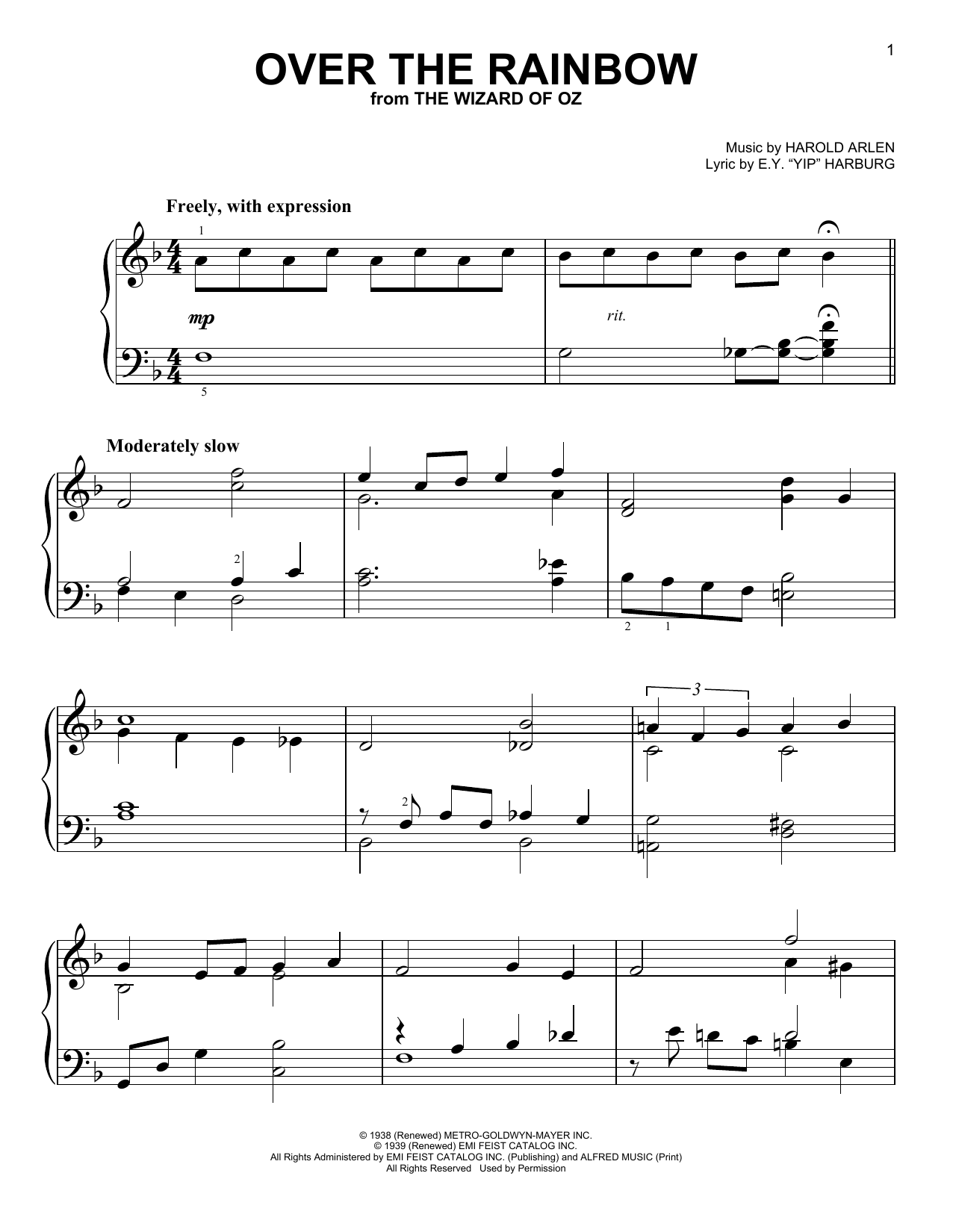 Over The Rainbow (Easy Piano)