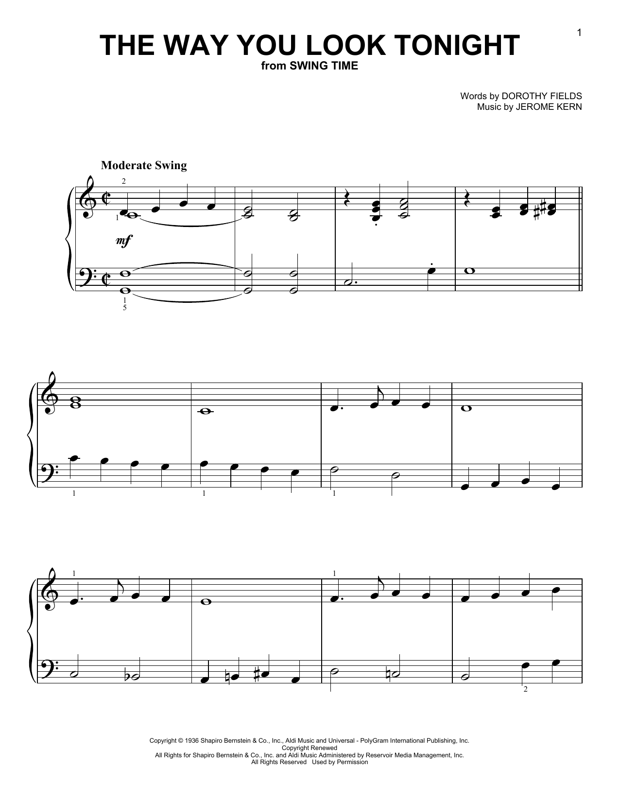 The Way You Look Tonight (Easy Piano)