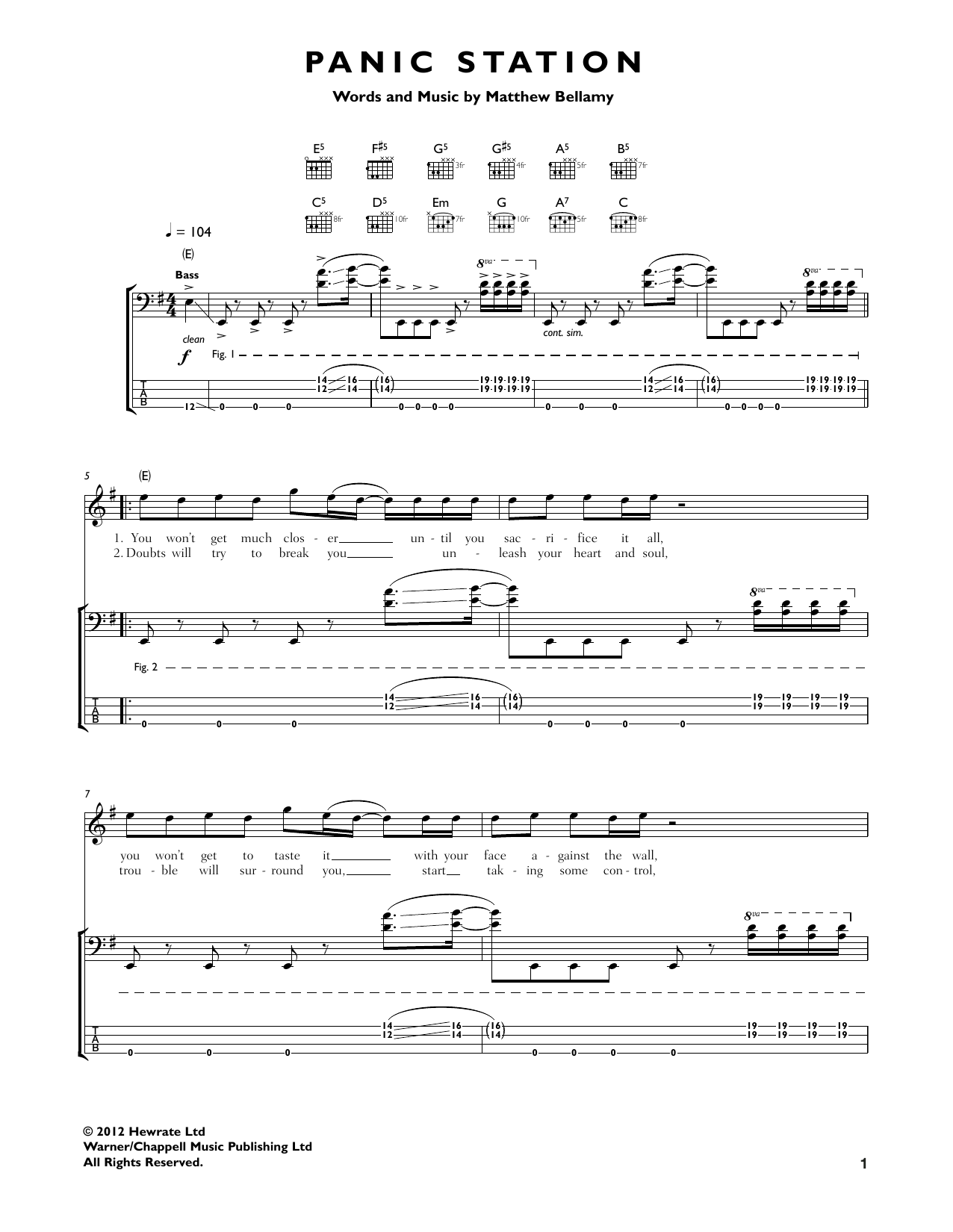 Panic Station Sheet Music
