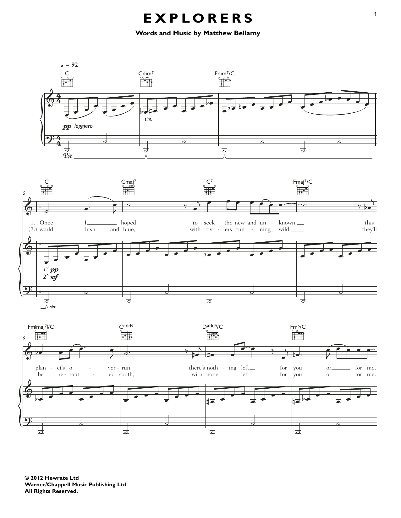 Explorers Sheet Music