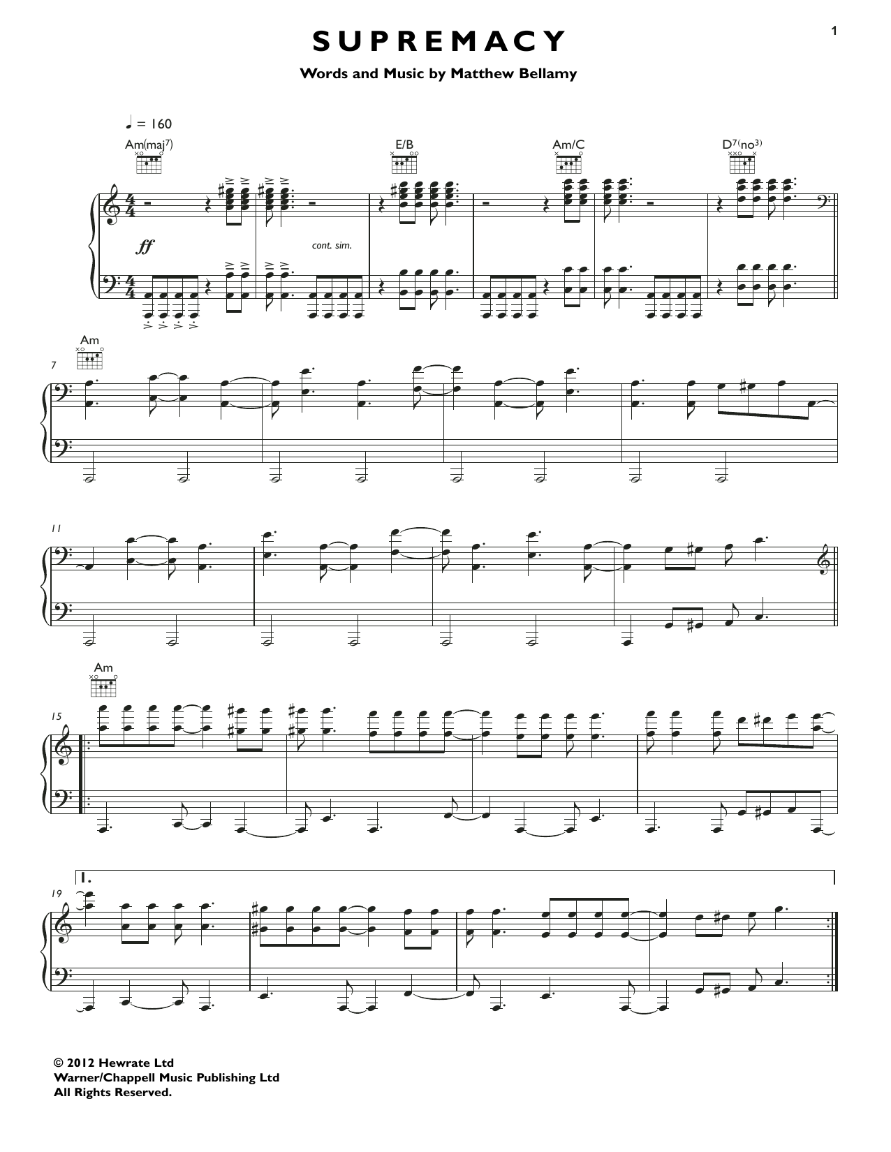 Supremacy Sheet Music