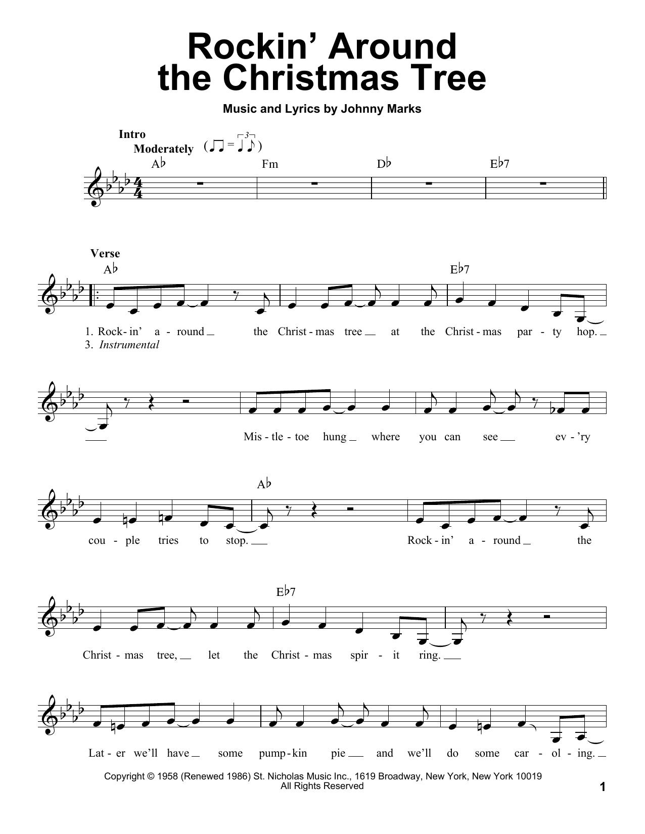 Rockin' Around The Christmas Tree Sheet Music | Johnny Marks | Pro Vocal