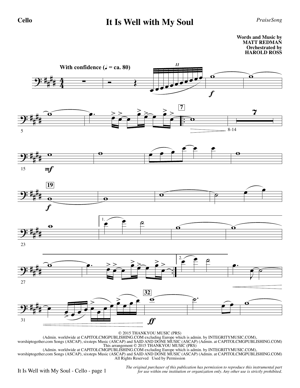 It Is Well with My Soul - Cello Sheet Music