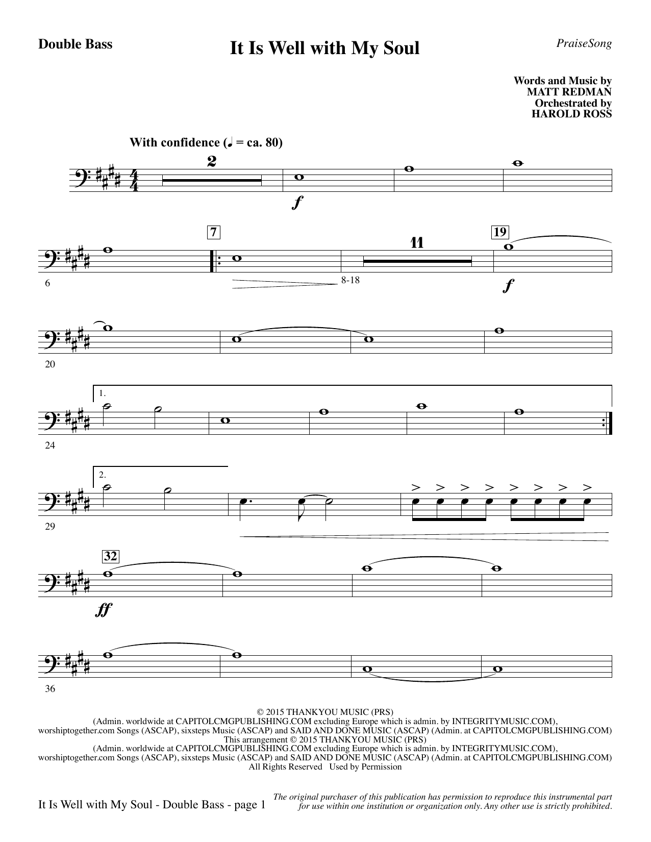 It Is Well with My Soul - Double Bass (Choir Instrumental Pak)