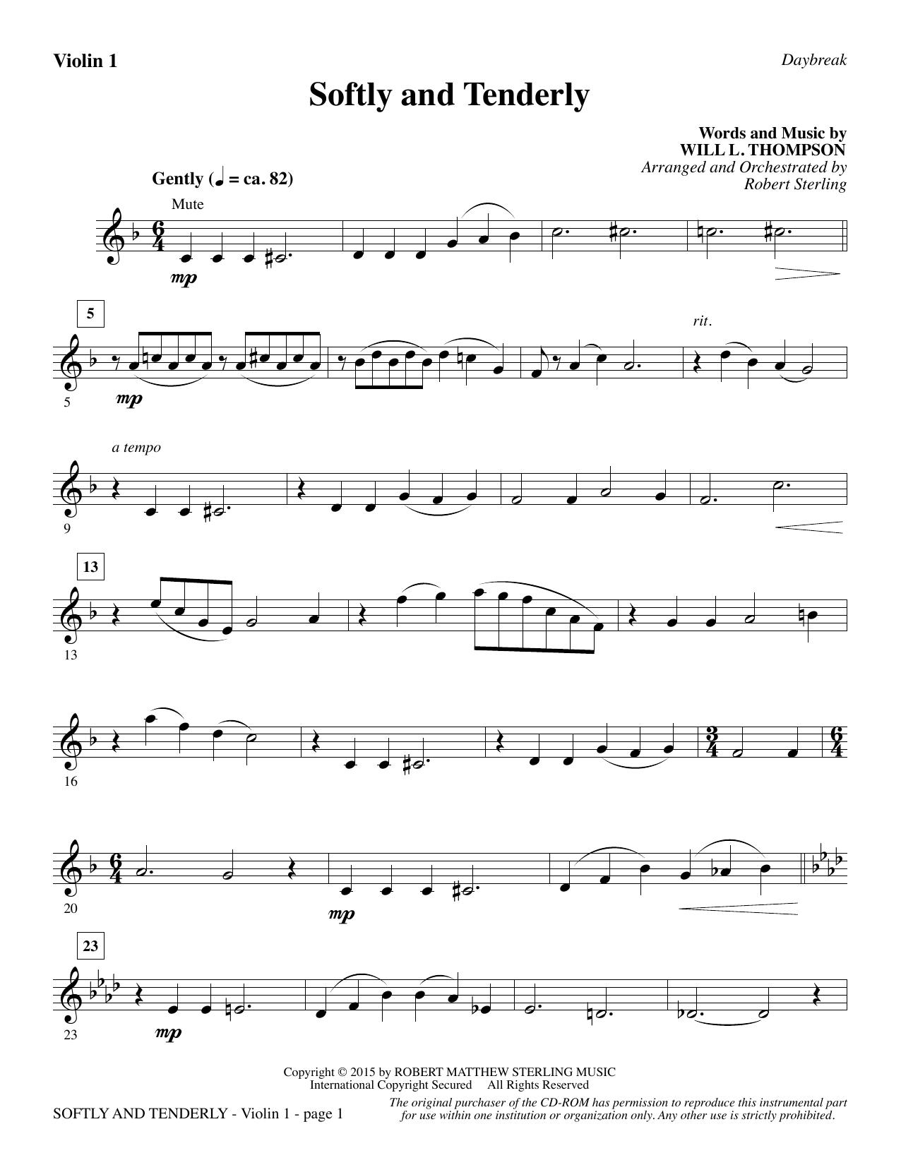 Softly and Tenderly - Violin 1 Sheet Music