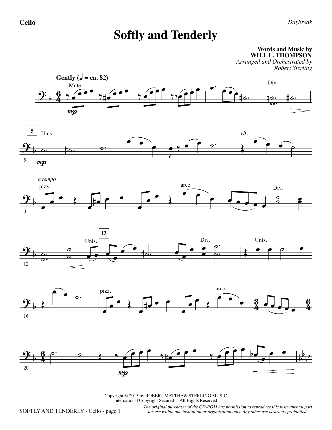 Softly and Tenderly - Cello Sheet Music