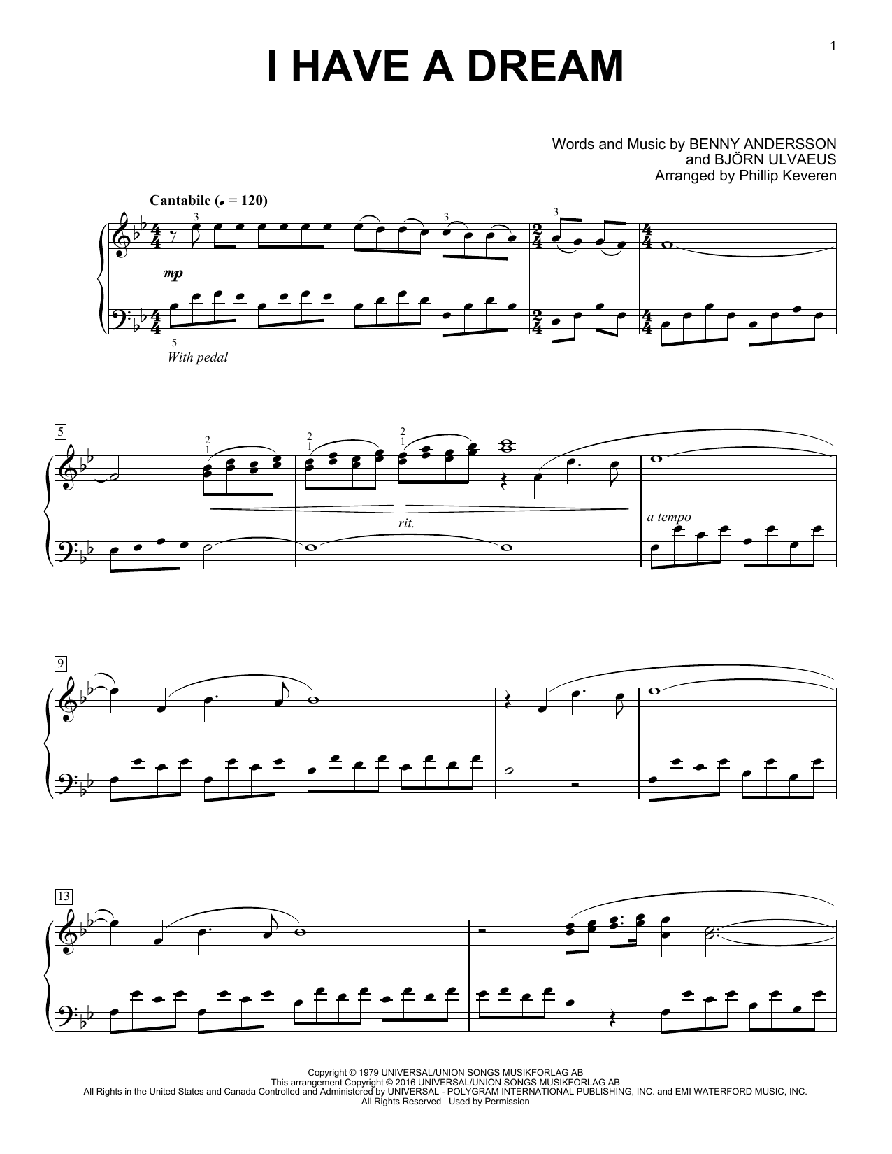 Partition piano I Have A Dream de Phillip Keveren - Piano Solo