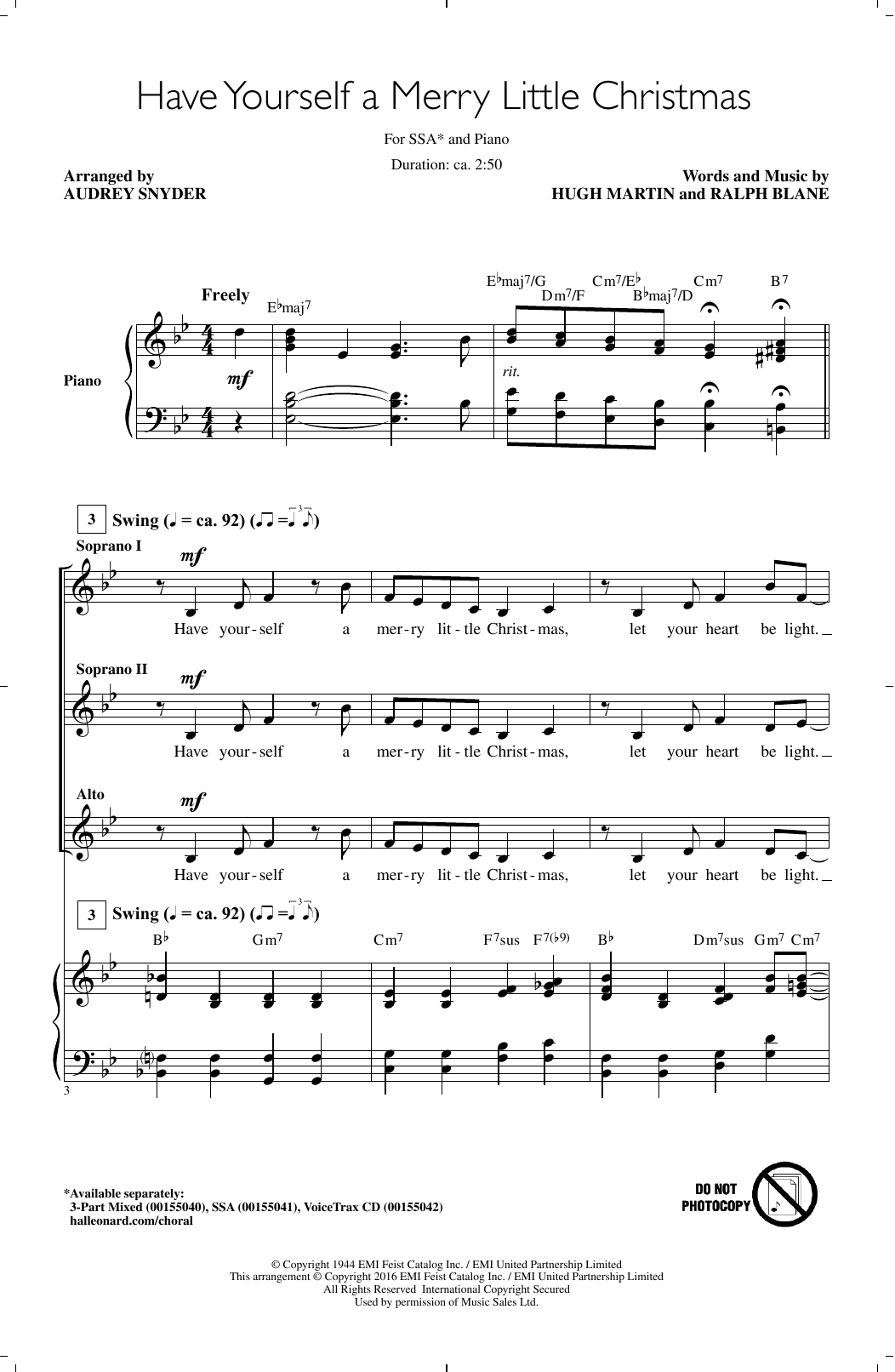 have yourself a merry little christmas sheet music - Have Yourself A Merry Little Christmas Lyrics