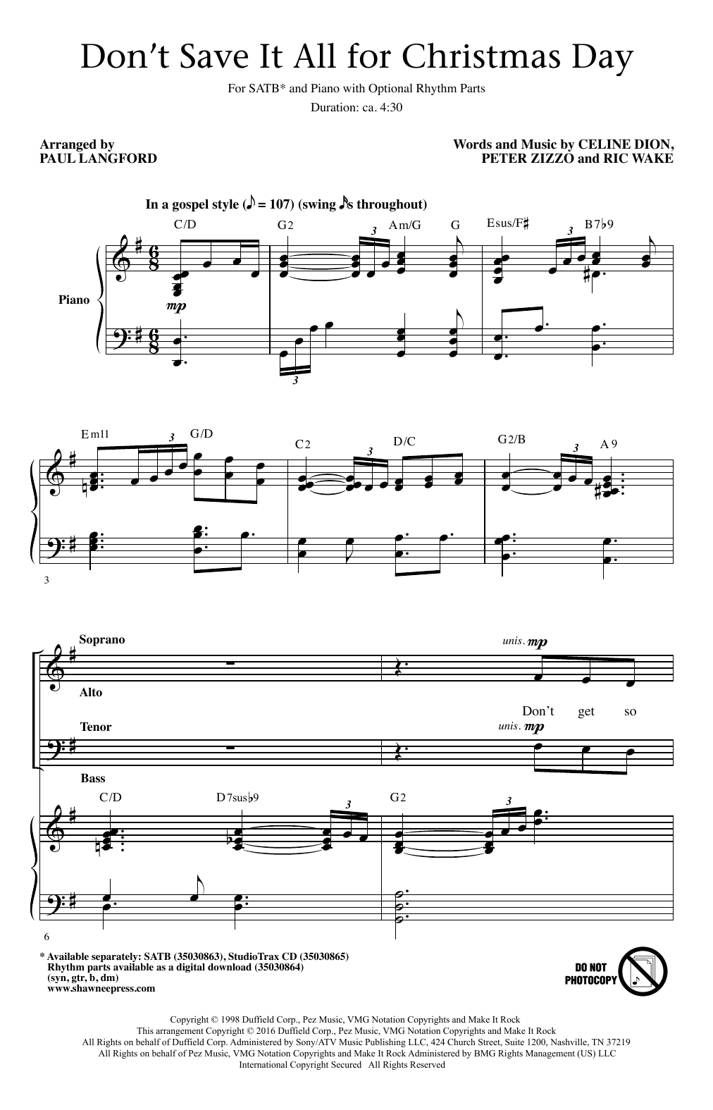 Don't Save It All For Christmas Day Sheet Music