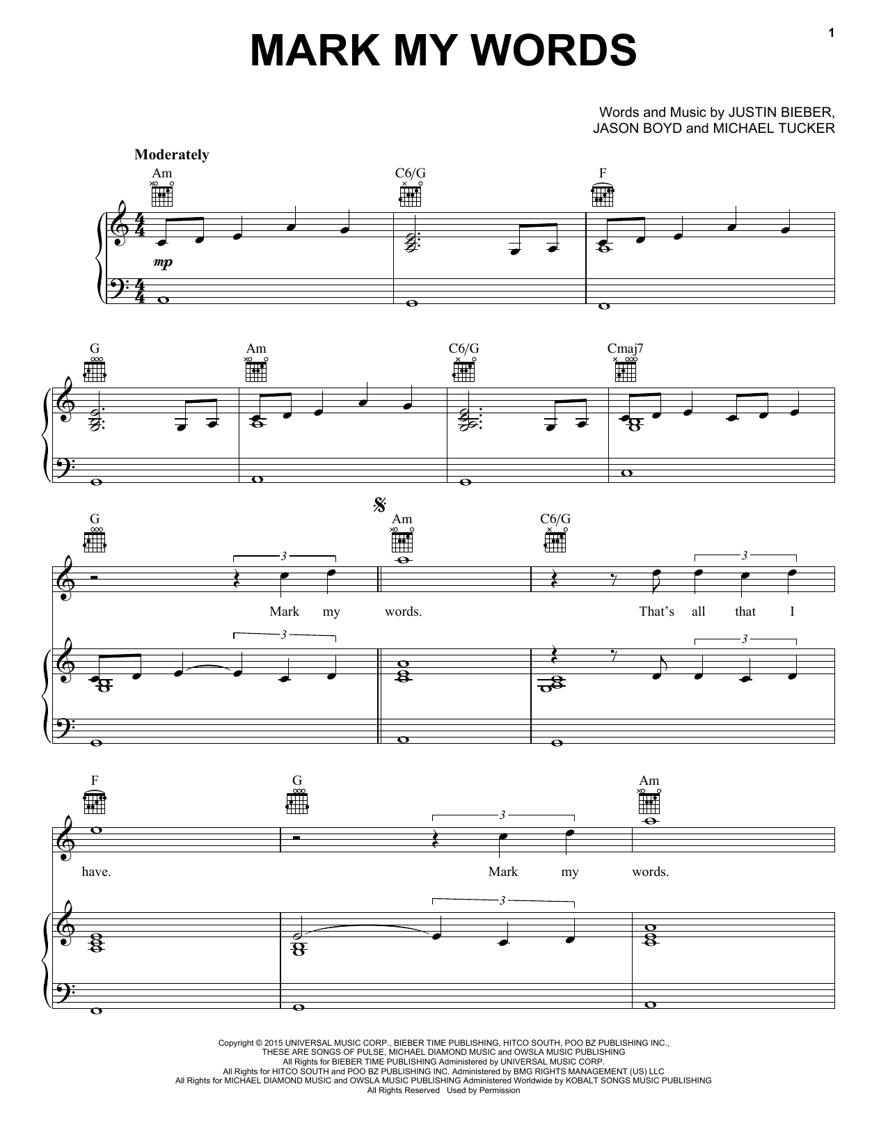 Partition piano Mark My Words de Justin Bieber - Piano Voix Guitare (Mélodie Main Droite)