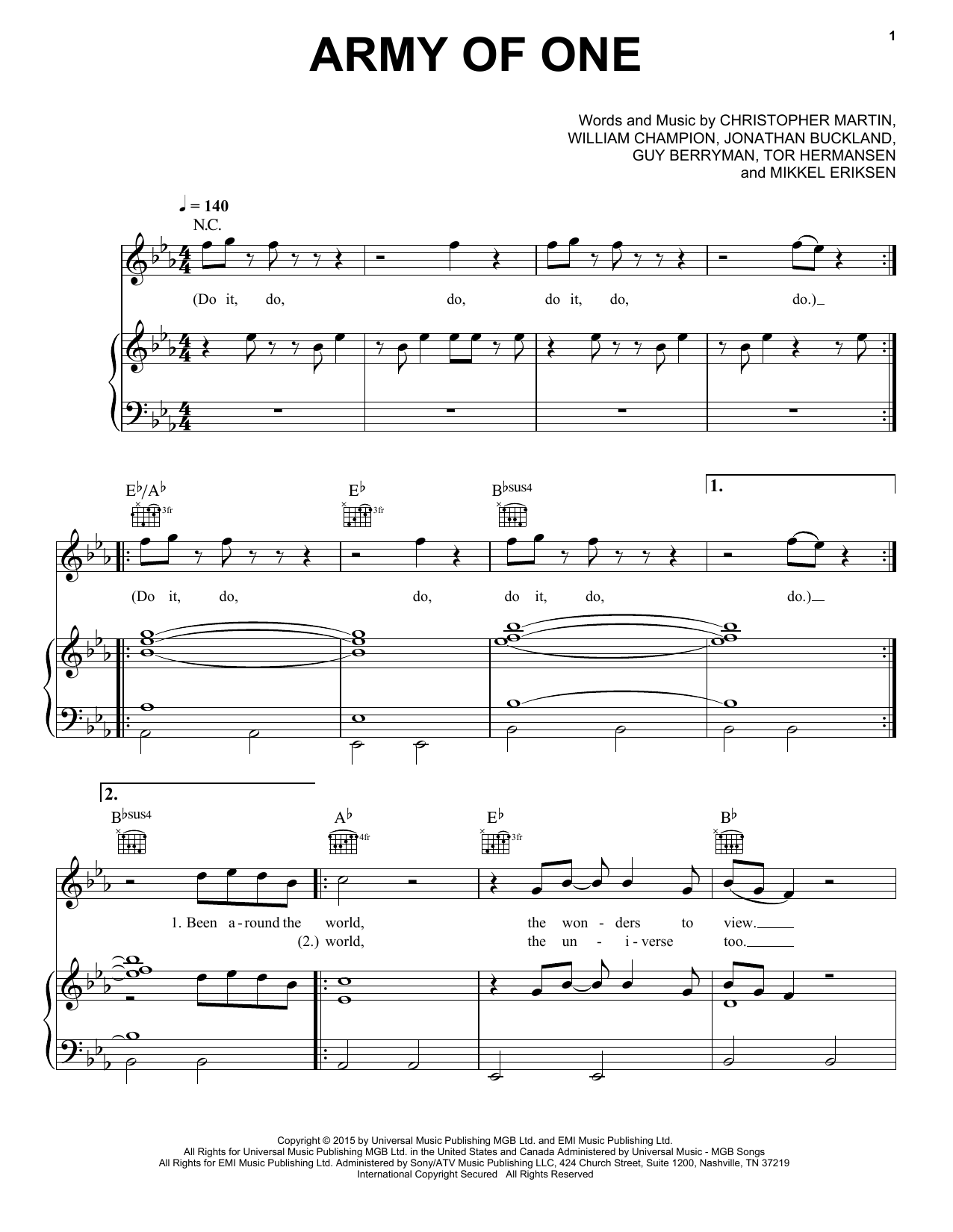 Army Of One (Piano, Vocal & Guitar (Right-Hand Melody))