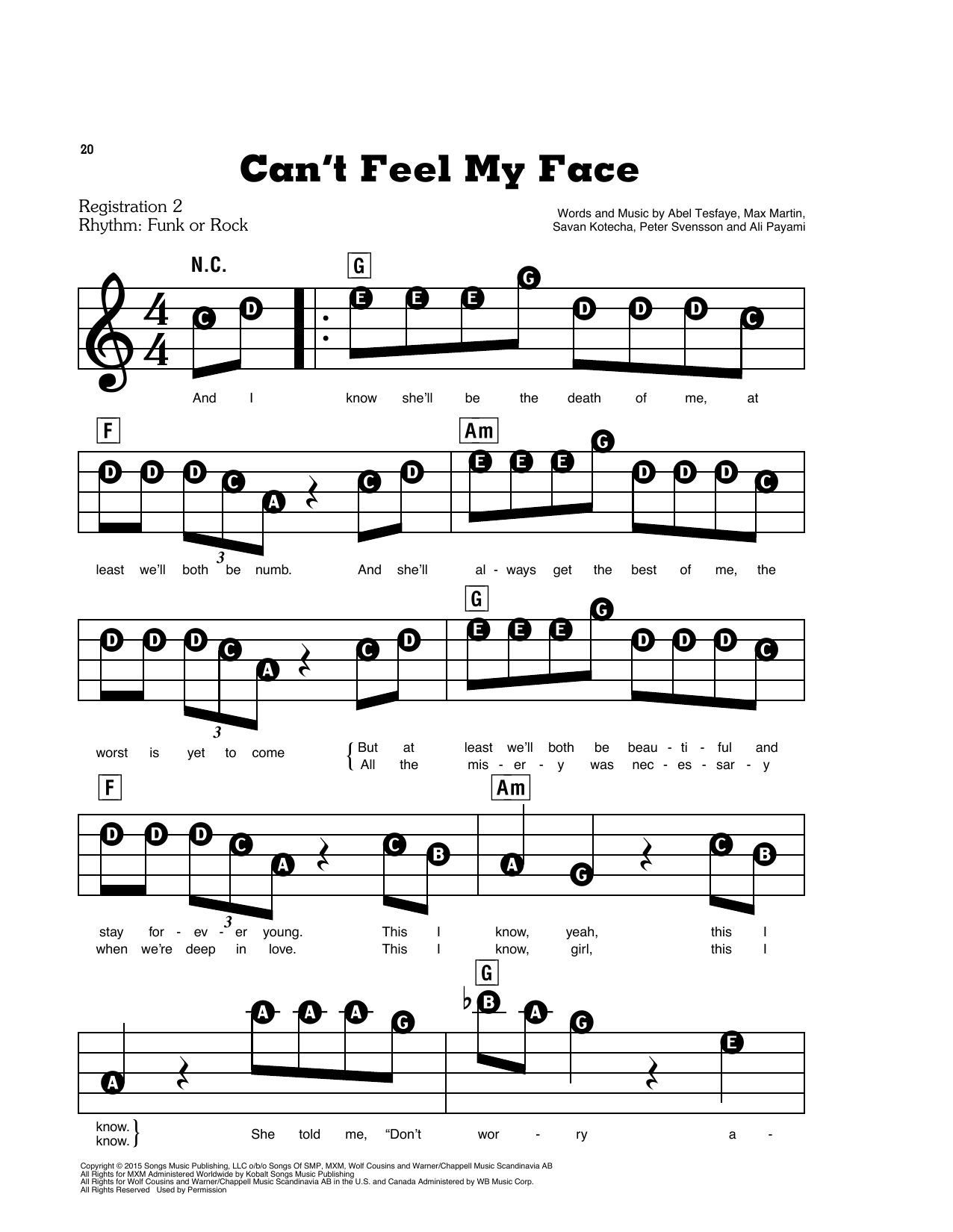 Can't Feel My Face Sheet Music
