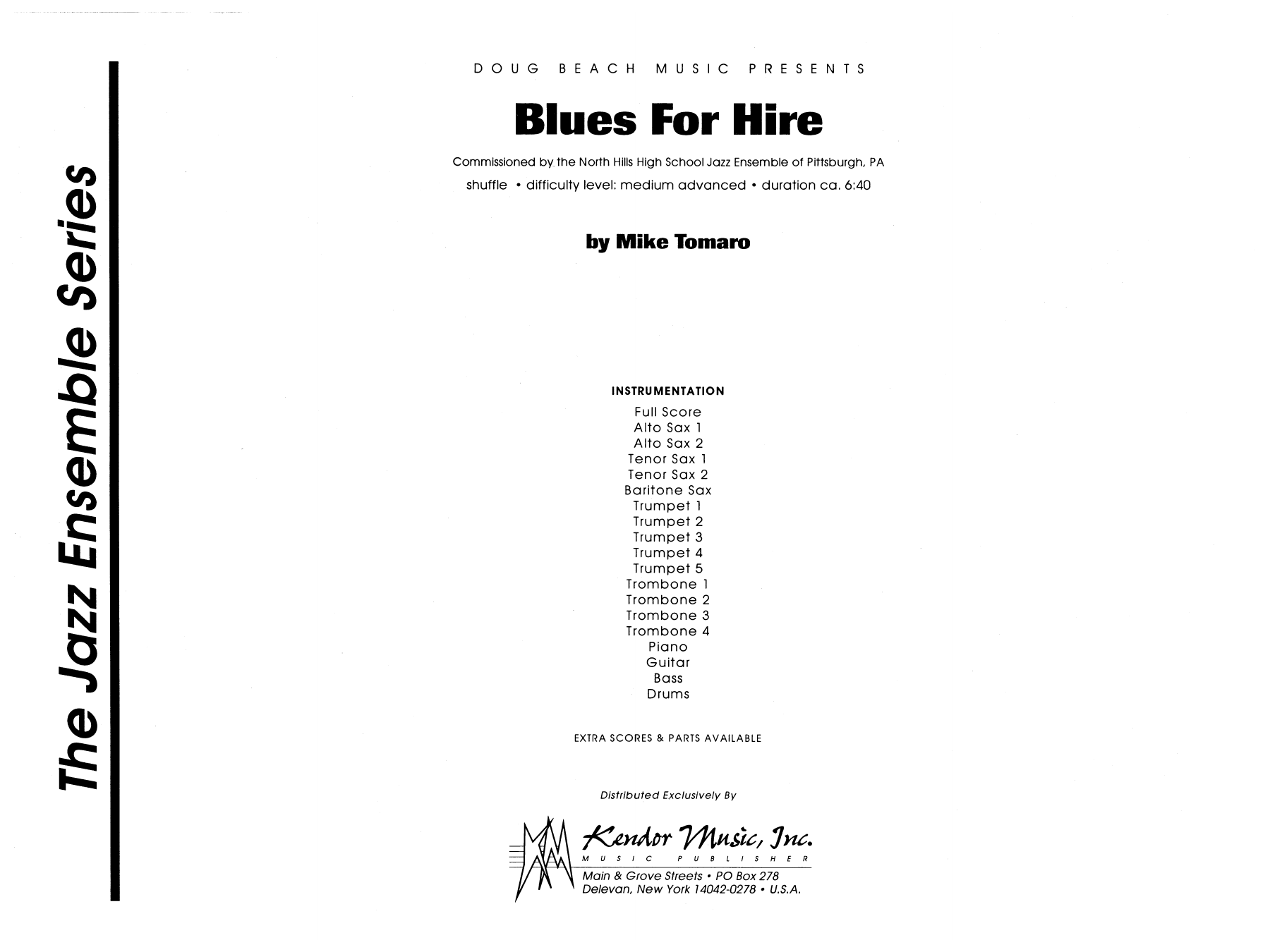 Blues For Hire (COMPLETE) sheet music for jazz band by Mike Tomaro. Score Image Preview.