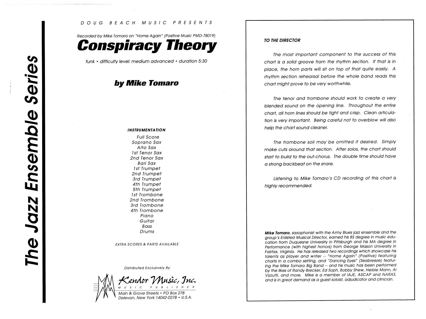 Conspiracy Theory (COMPLETE) sheet music for jazz band by Mike Tomaro. Score Image Preview.