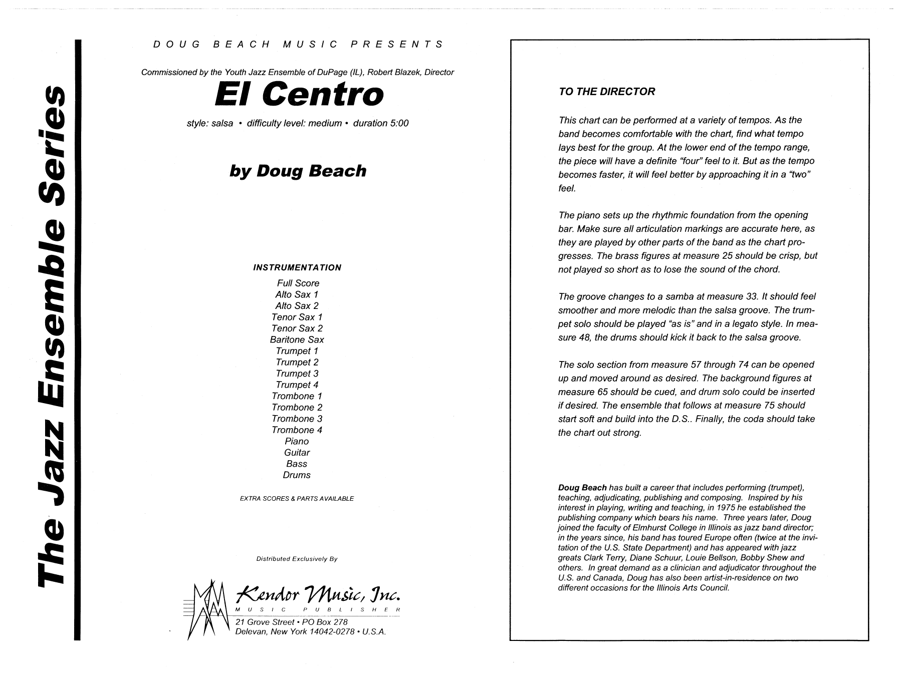 El Centro (COMPLETE) sheet music for jazz band by Neil Slater. Score Image Preview.