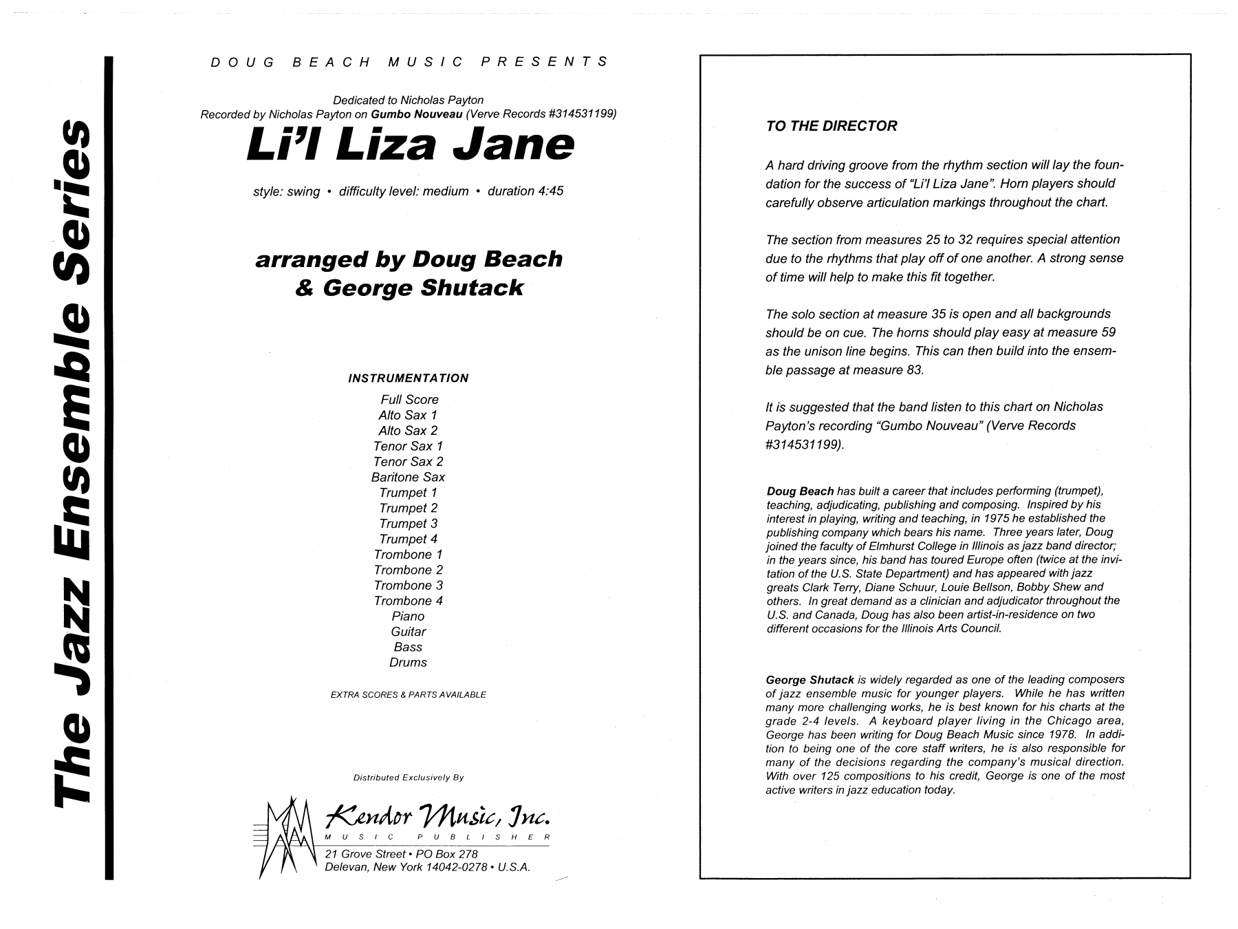 Li'l Liza Jane (COMPLETE) sheet music for jazz band by Doug Beach & George Shutack. Score Image Preview.