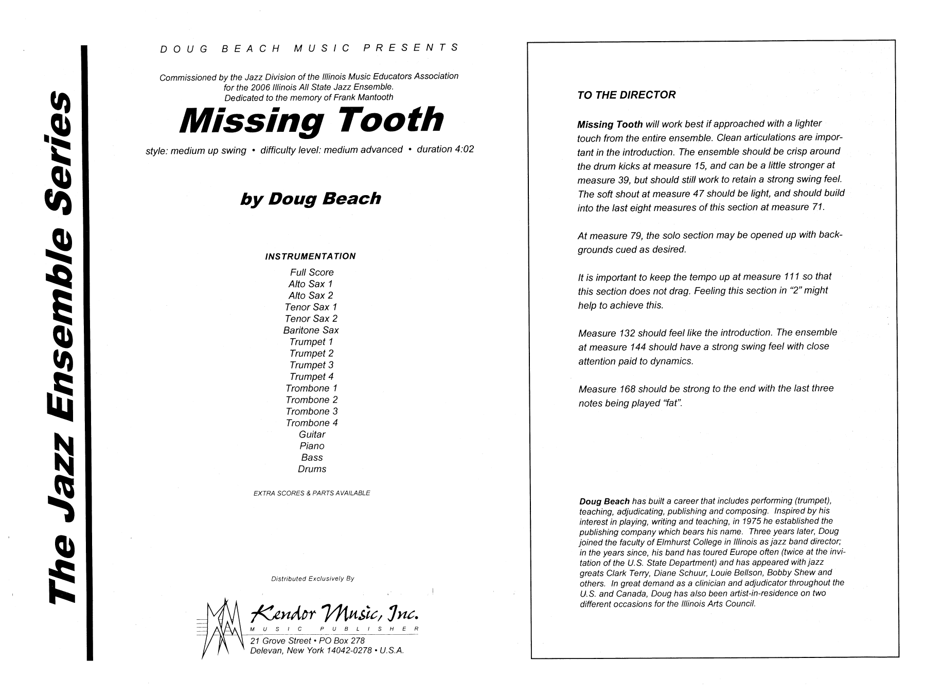 Missing Tooth (COMPLETE) sheet music for jazz band by Doug Beach. Score Image Preview.