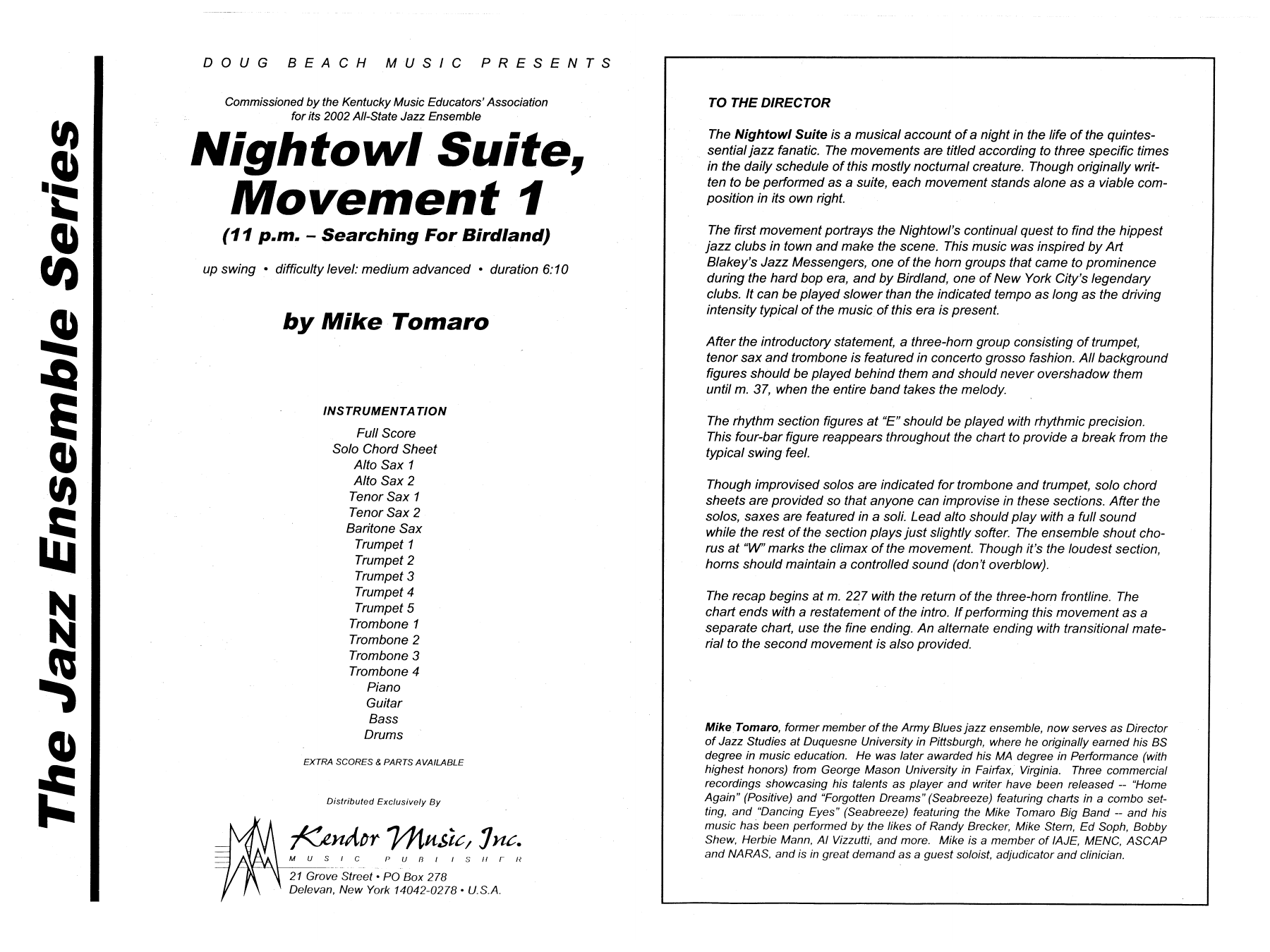 Nightowl Suite, Mvt. 1 (COMPLETE) sheet music for jazz band by Mike Tomaro. Score Image Preview.