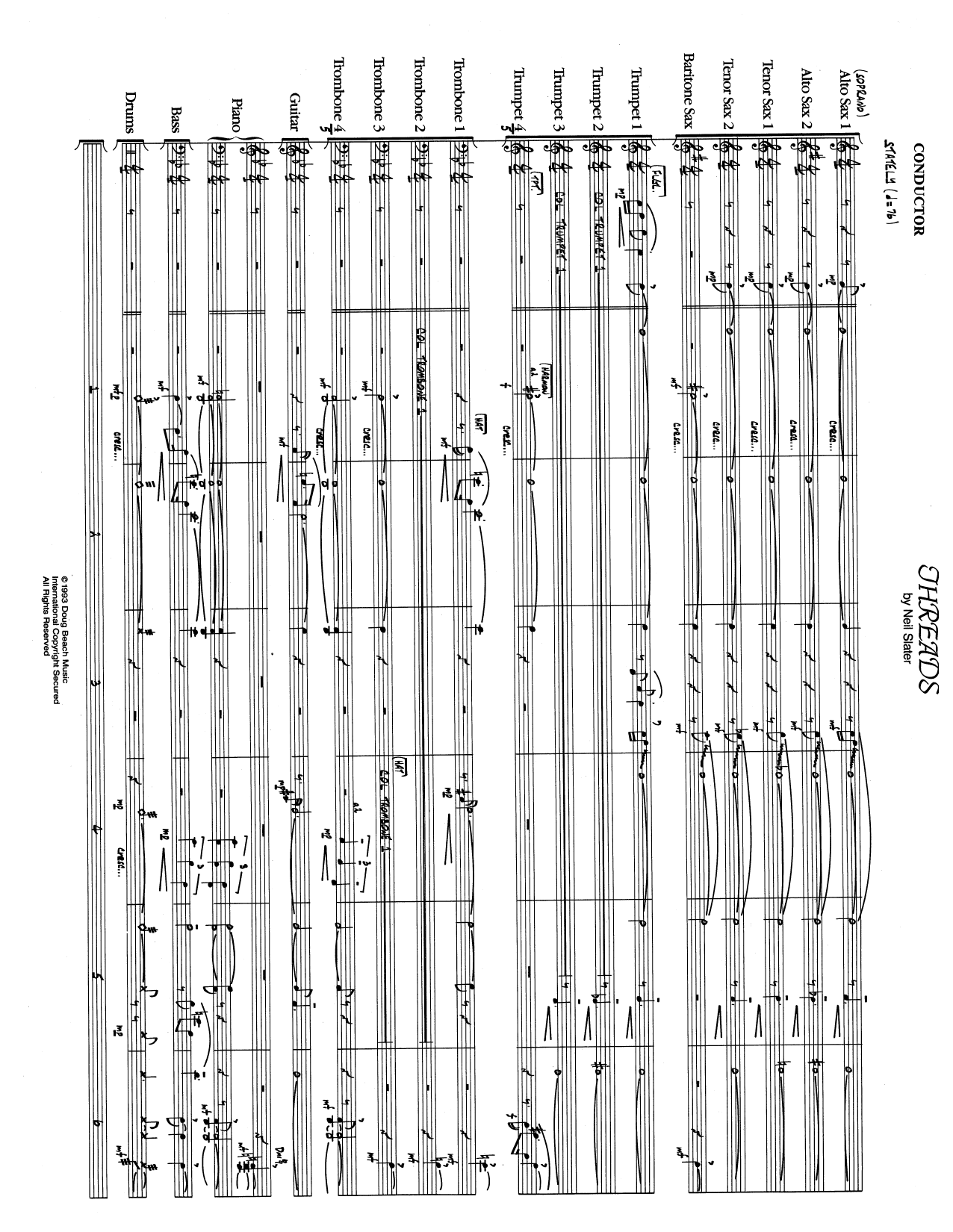 Threads (COMPLETE) sheet music for jazz band by Neil Slater. Score Image Preview.