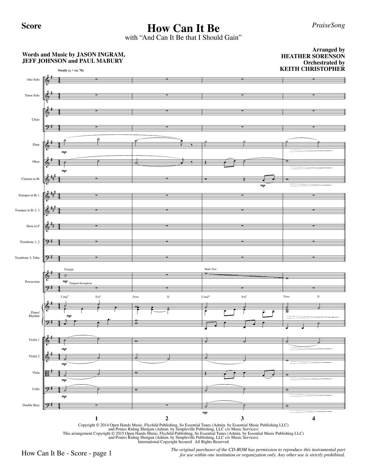How Can It Be - Full Score Sheet Music