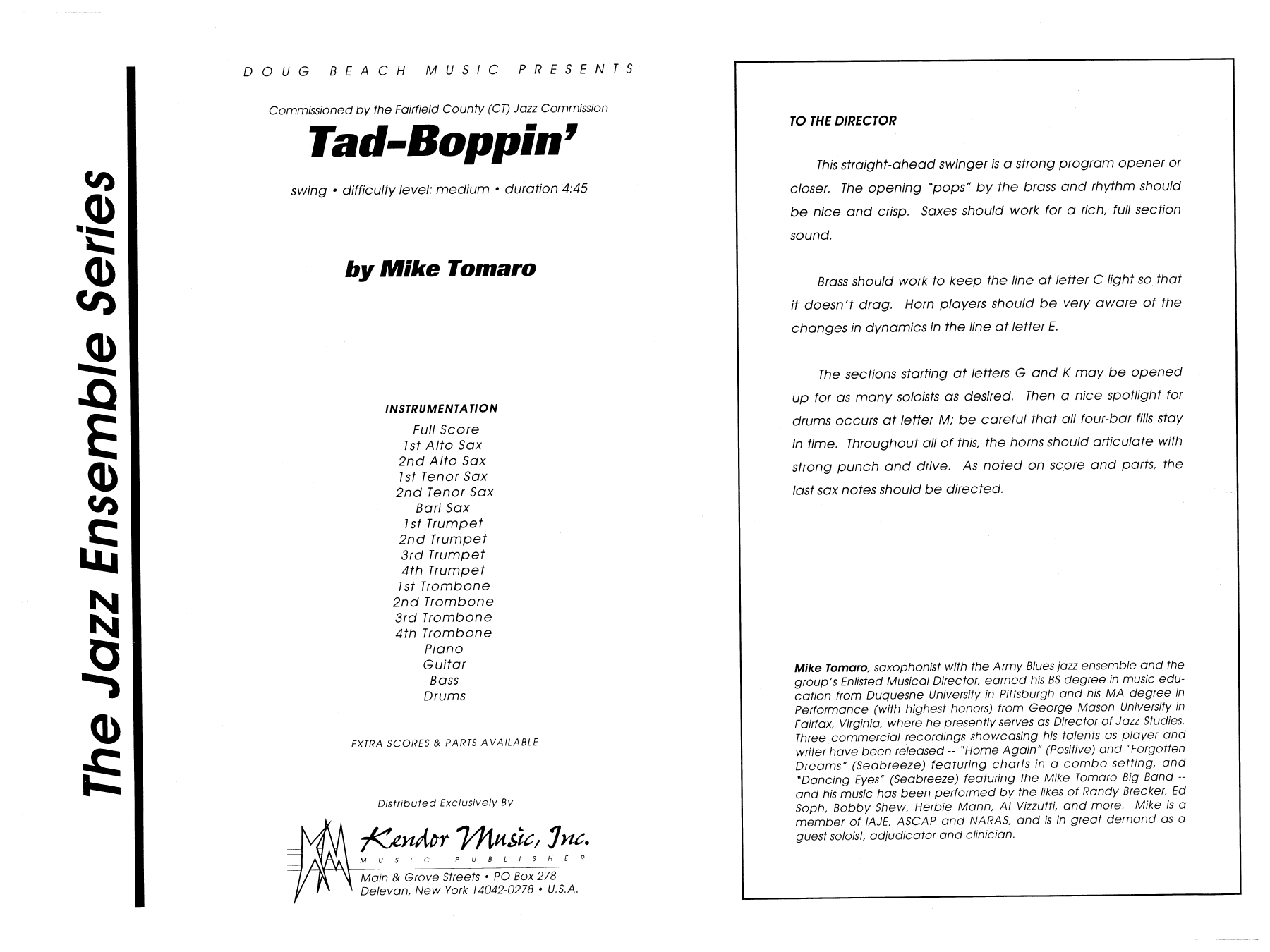 Tad-Boppin (COMPLETE) sheet music for jazz band by Mike Tomaro. Score Image Preview.