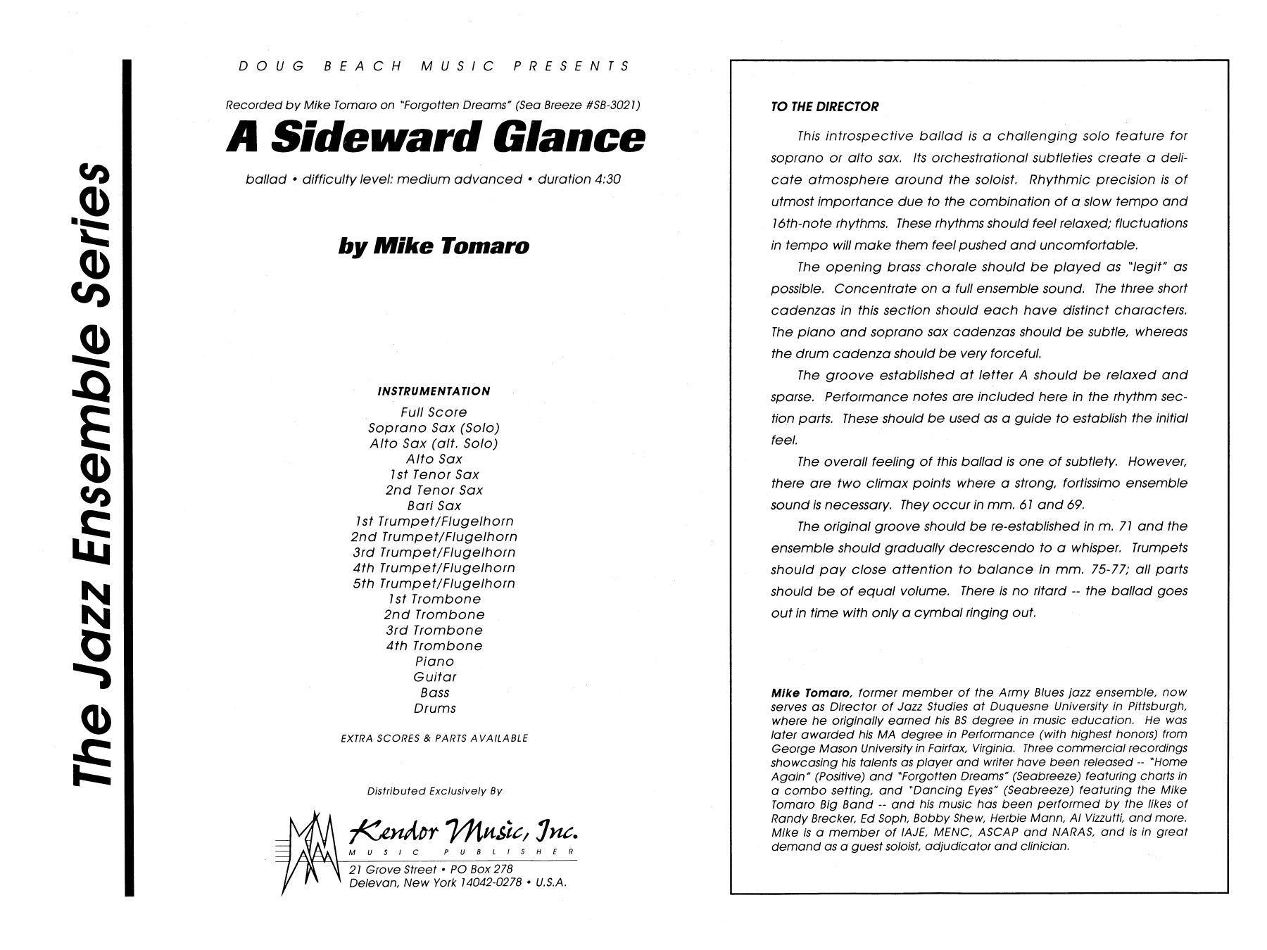 A Sideward Glance (COMPLETE) sheet music for jazz band by Mike Tomaro. Score Image Preview.