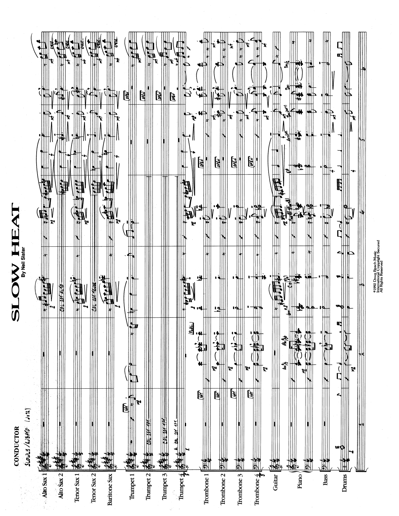 Slow Heat (COMPLETE) sheet music for jazz band by Neil Slater. Score Image Preview.
