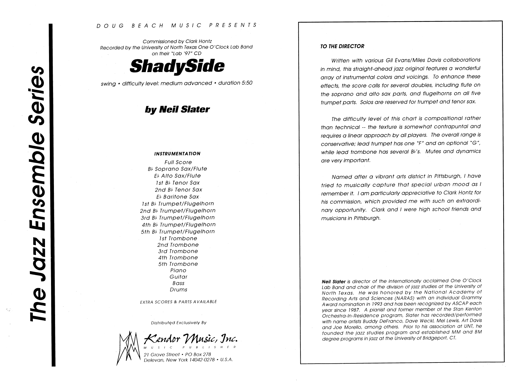 Shadyside (COMPLETE) sheet music for jazz band by Neil Slater. Score Image Preview.