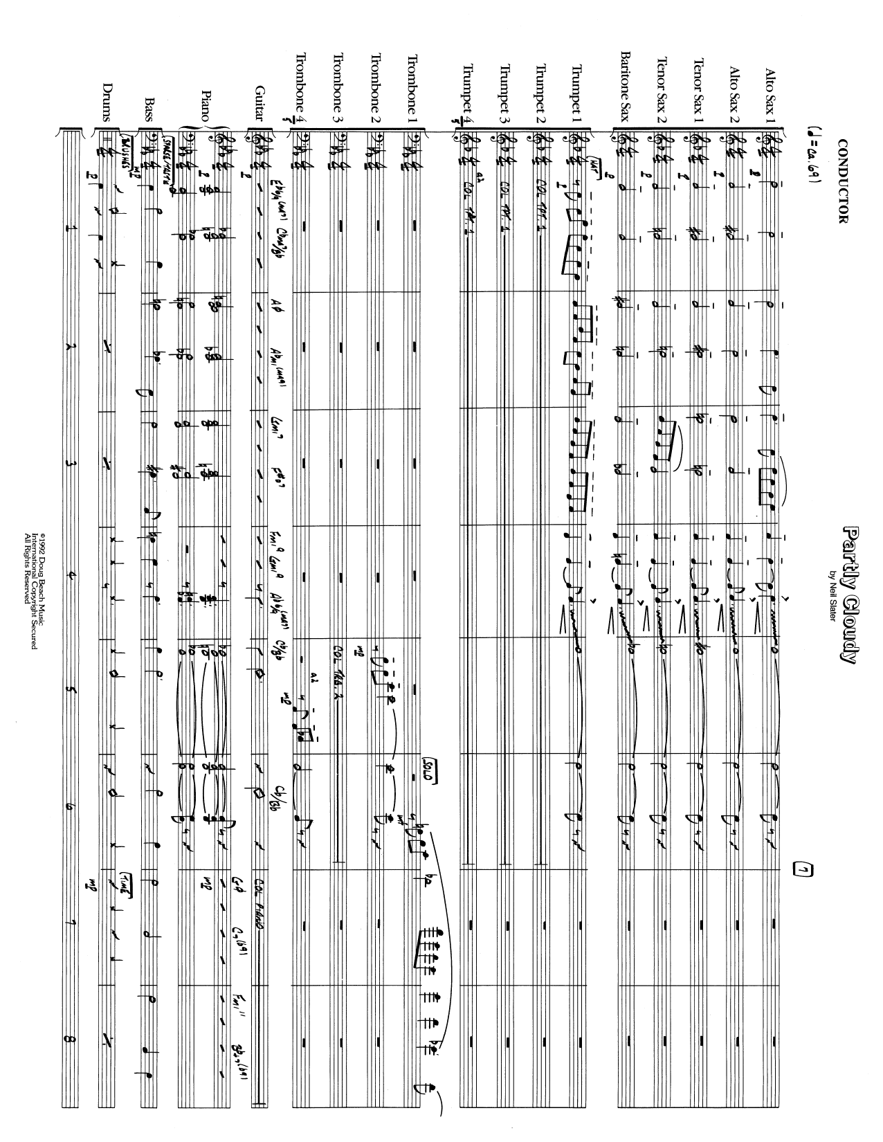 Partly Cloudy (COMPLETE) sheet music for jazz band by Neil Slater. Score Image Preview.