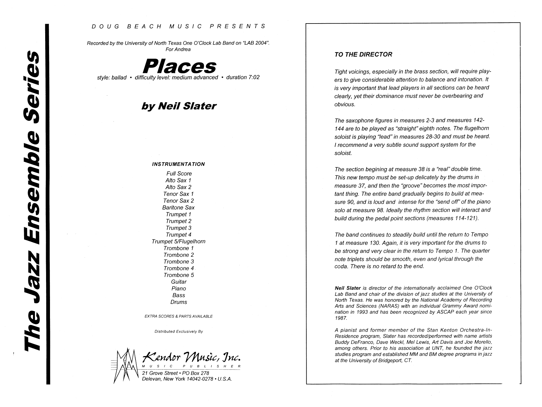 Places (COMPLETE) sheet music for jazz band by Neil Slater. Score Image Preview.