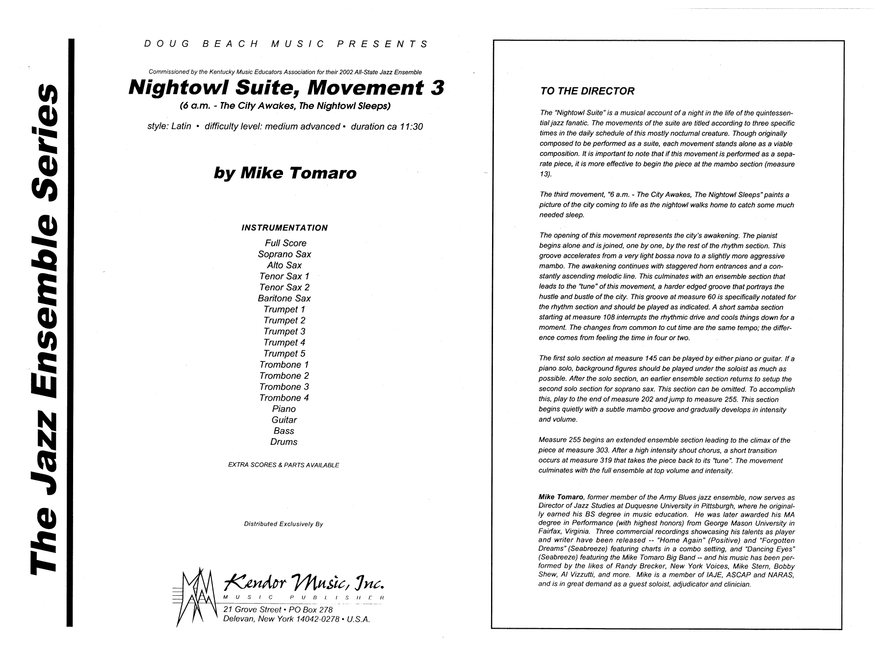 Nightowl Suite, Mvt. 3 (COMPLETE) sheet music for jazz band by Mike Tomaro. Score Image Preview.