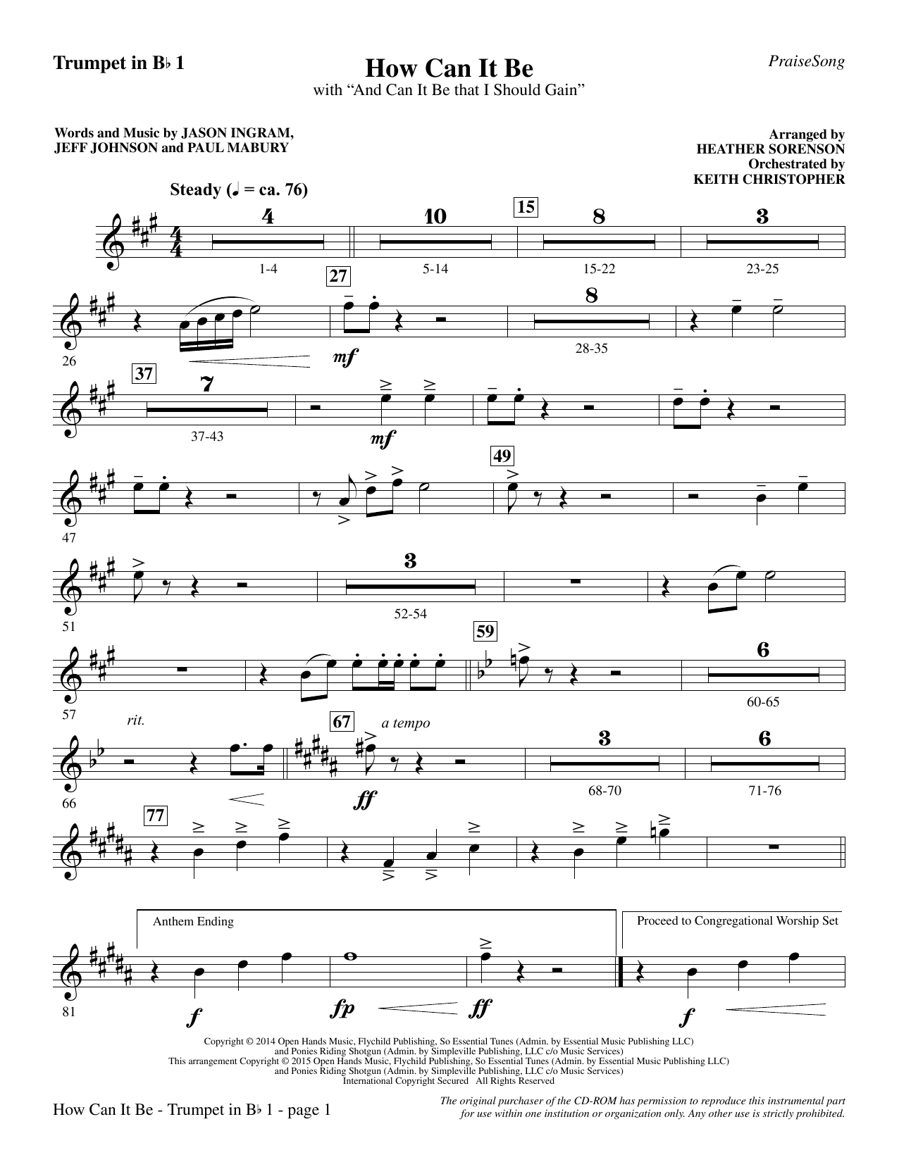 How Can It Be - Bb Trumpet 1 Sheet Music